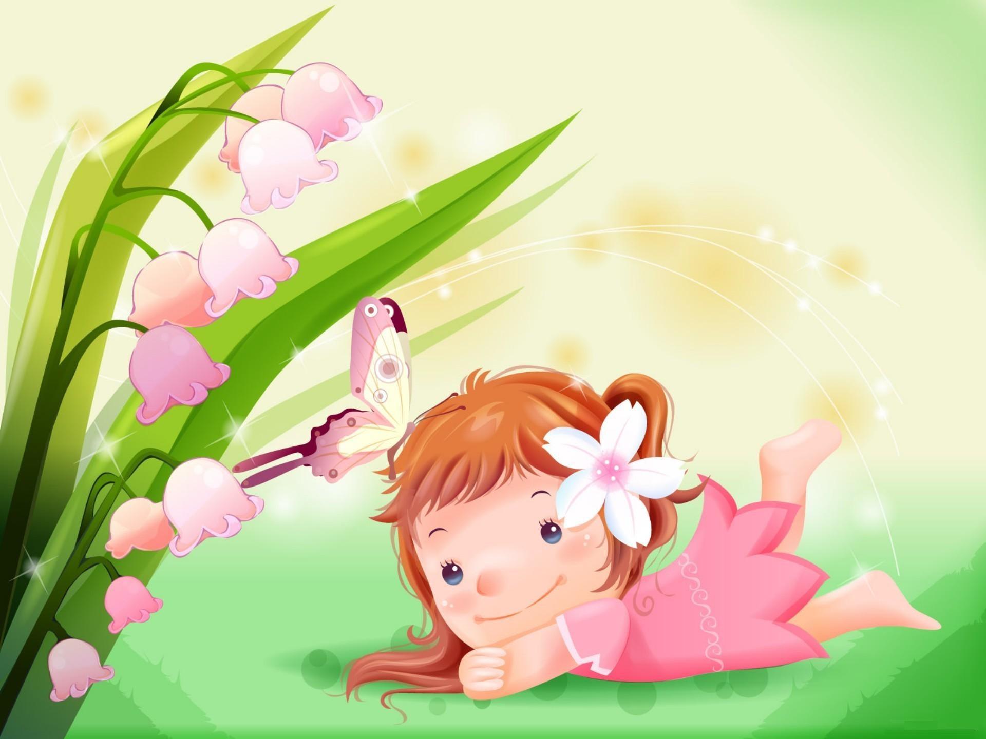 Cute Cartoon Girl With Flower Hd Wallpaper Desktop Cute Cartoon Wallpapers For Girls 1920x1440 Download Hd Wallpaper Wallpapertip