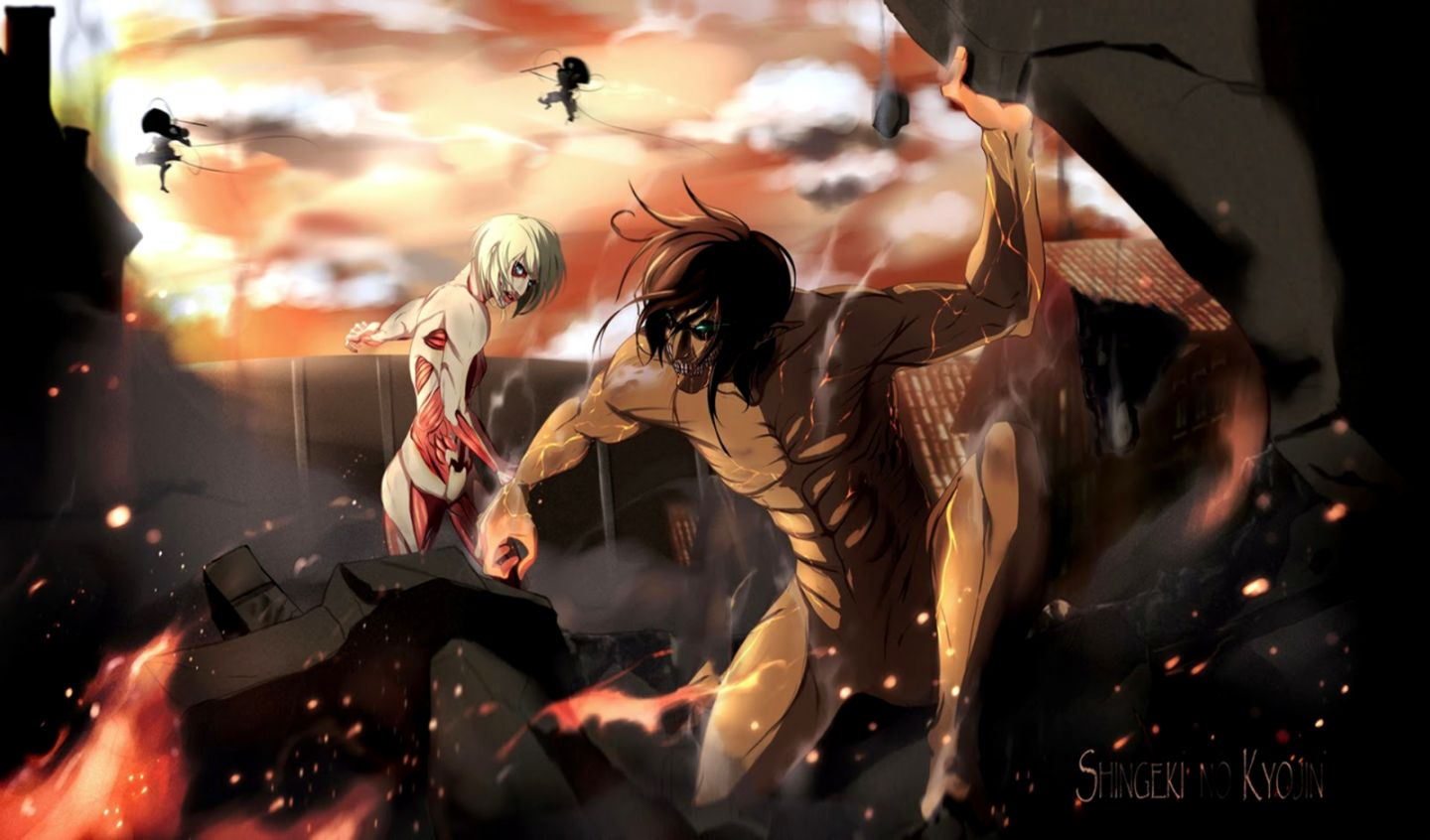 Attack On Titan Wallpaper Attack On Titan Female Titan Vs Rogue 1440x846 Download Hd Wallpaper Wallpapertip