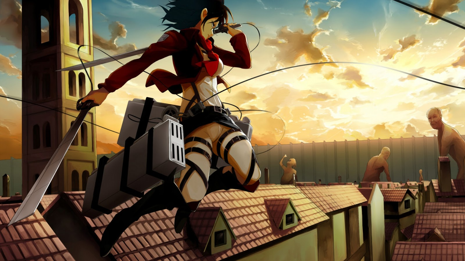 Attack On Titan Wallpaper Attack On Titan Wallpaper Mikasa 1600x900 Download Hd Wallpaper Wallpapertip