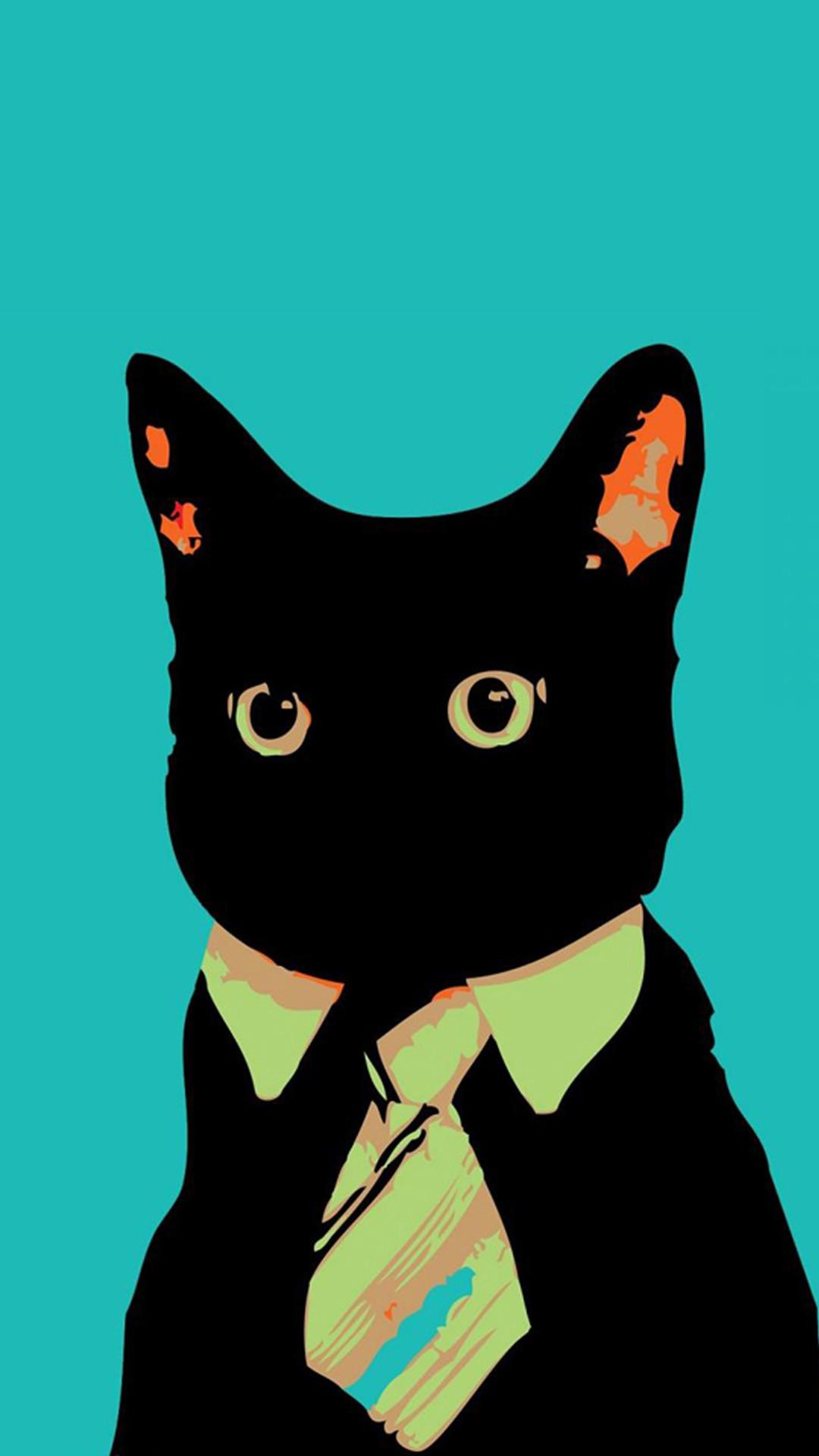 Funny Iphone Wallpaper Ios 7 Funny Iphone Lock Screen Cat In Suit Cartoon 1080x1920 Download Hd Wallpaper Wallpapertip
