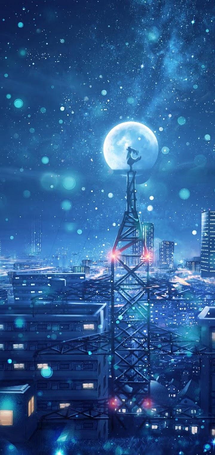 Night Sky City Stars Anime Scenery 4k Anime Phone Wallpaper 4k 720x1520 Download Hd Wallpaper Wallpapertip