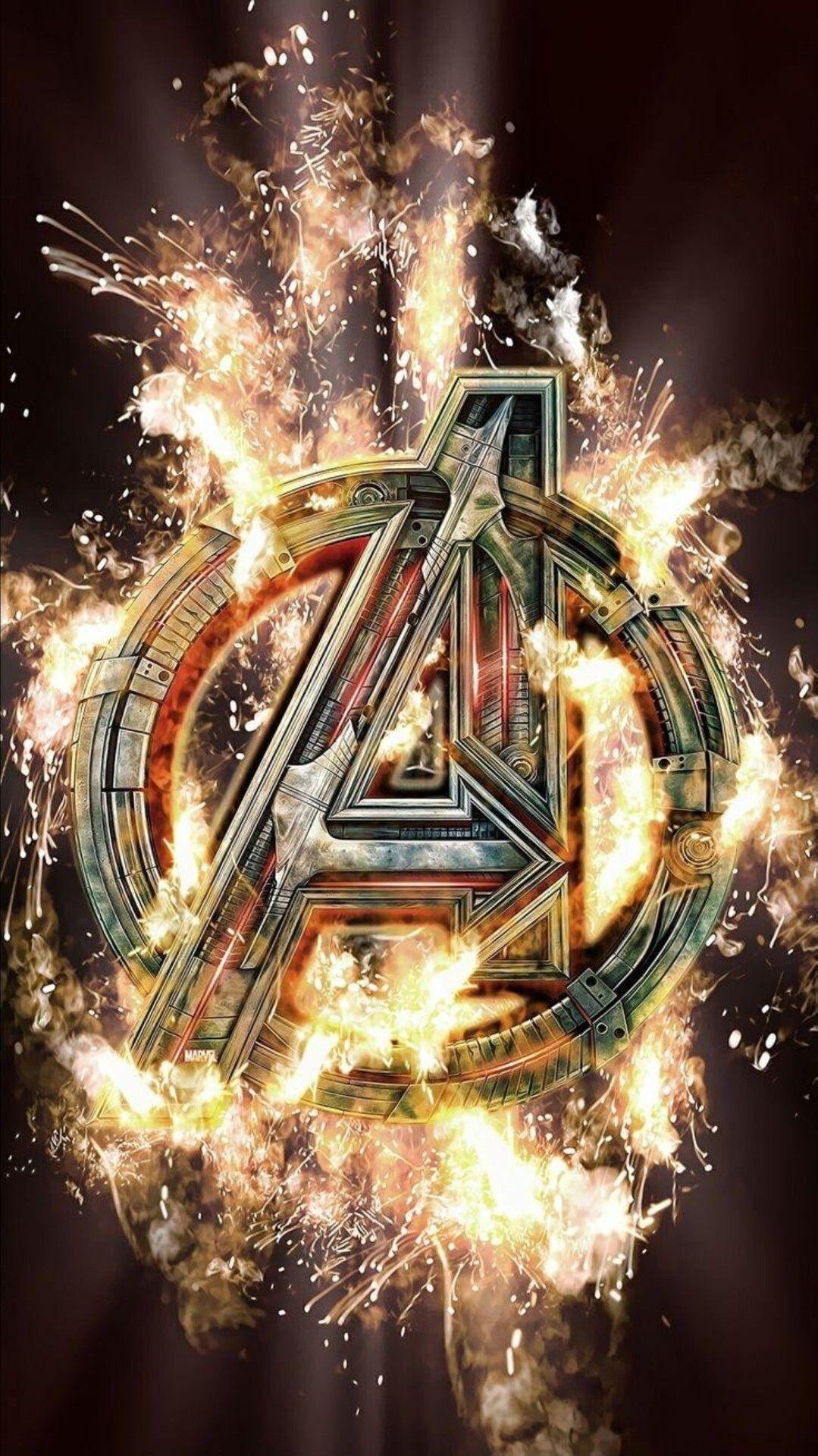 Avengers Logo Wallpaper Fire 736x1308 Download Hd Wallpaper Wallpapertip