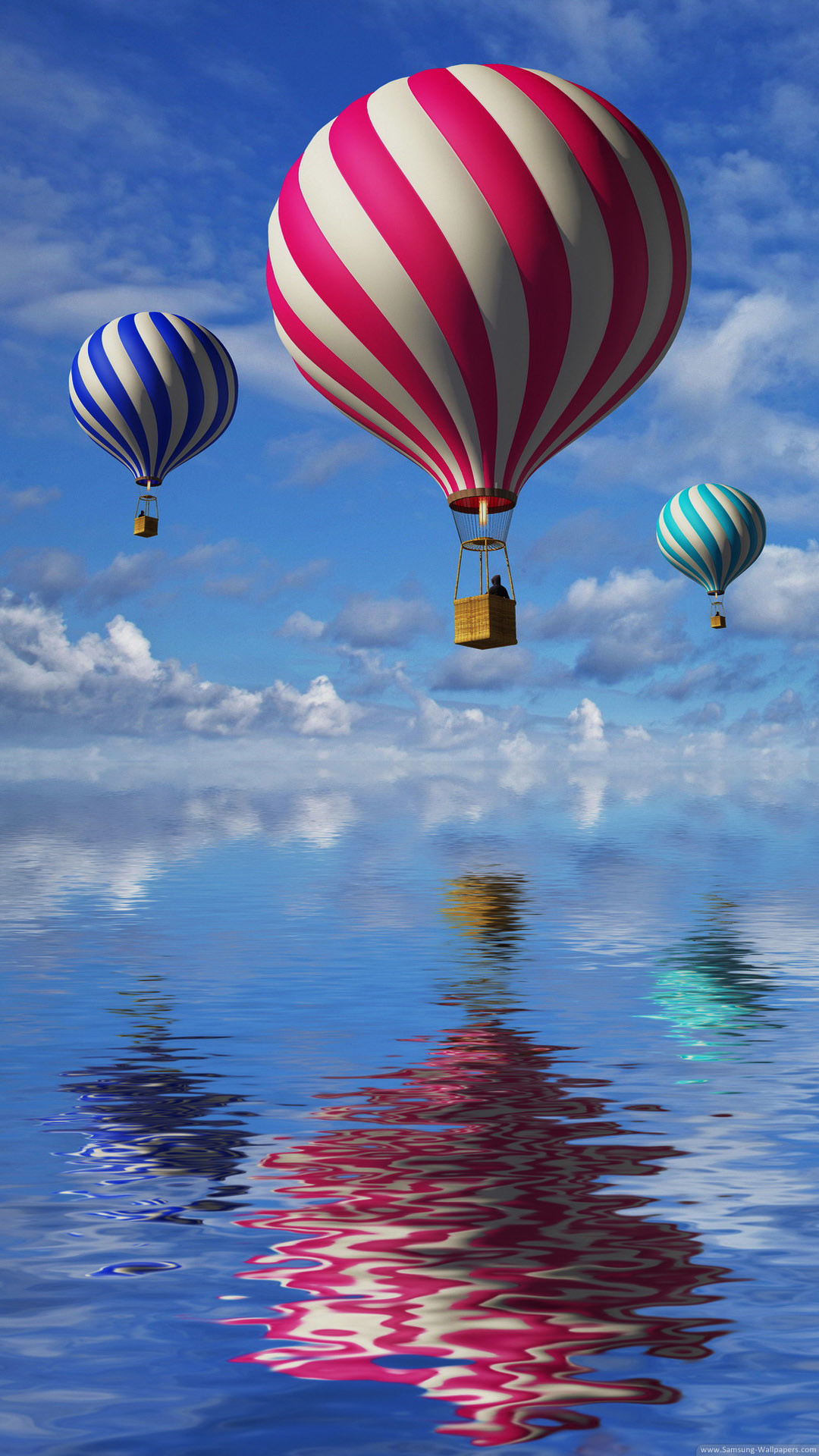 3d Balloons In The Blue Sky And Reflection In Water Hot Air Balloons Over Water 610x1084 Download Hd Wallpaper Wallpapertip