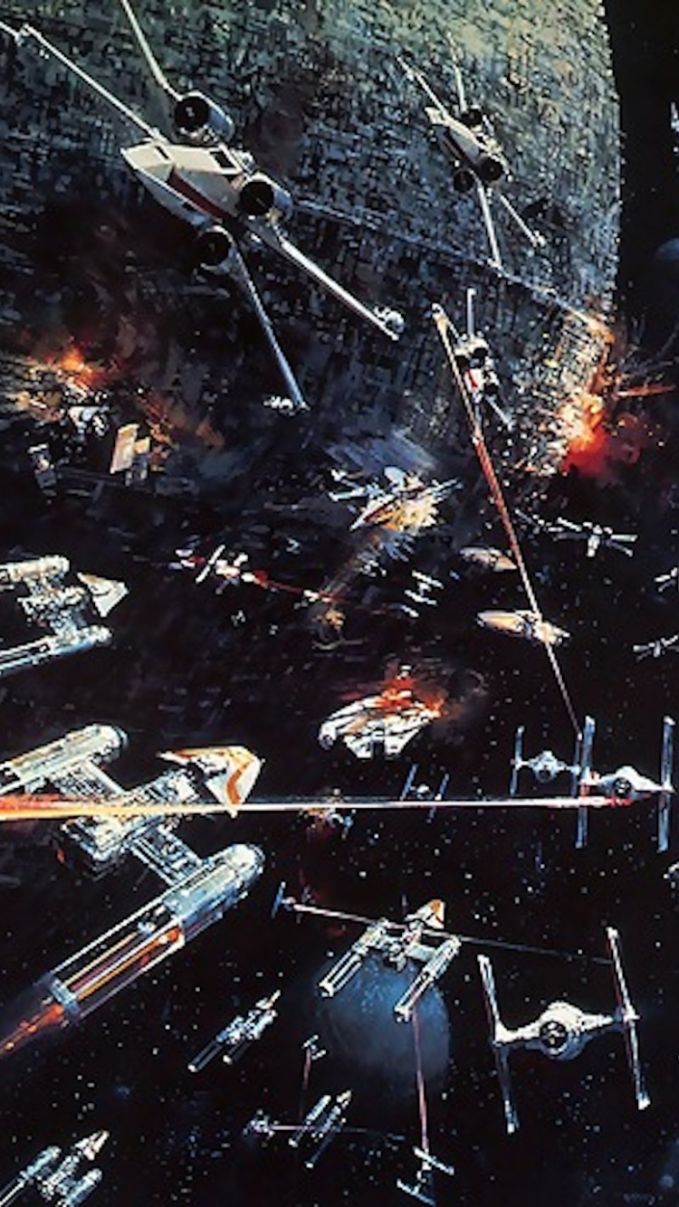 Some Hq Star Wars Phone Backgrounds Thechive Star Wars Battle Of Yavin Art 750x1334 Download Hd Wallpaper Wallpapertip