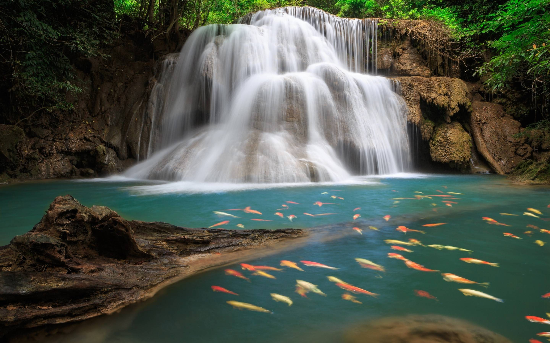Beautiful Nature Waterfall Background Wallpaper Image Huai Mae Khamin Waterfall 2880x1800 Download Hd Wallpaper Wallpapertip
