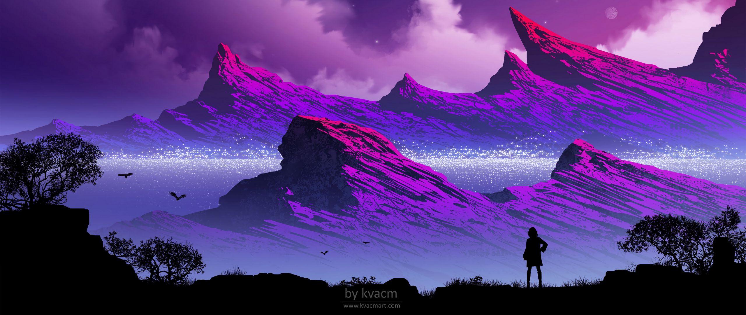 Wallpaper Silhouette Mountains Clouds Art Fog Minimalist Hd Iphone 2560x1080 Download Hd Wallpaper Wallpapertip
