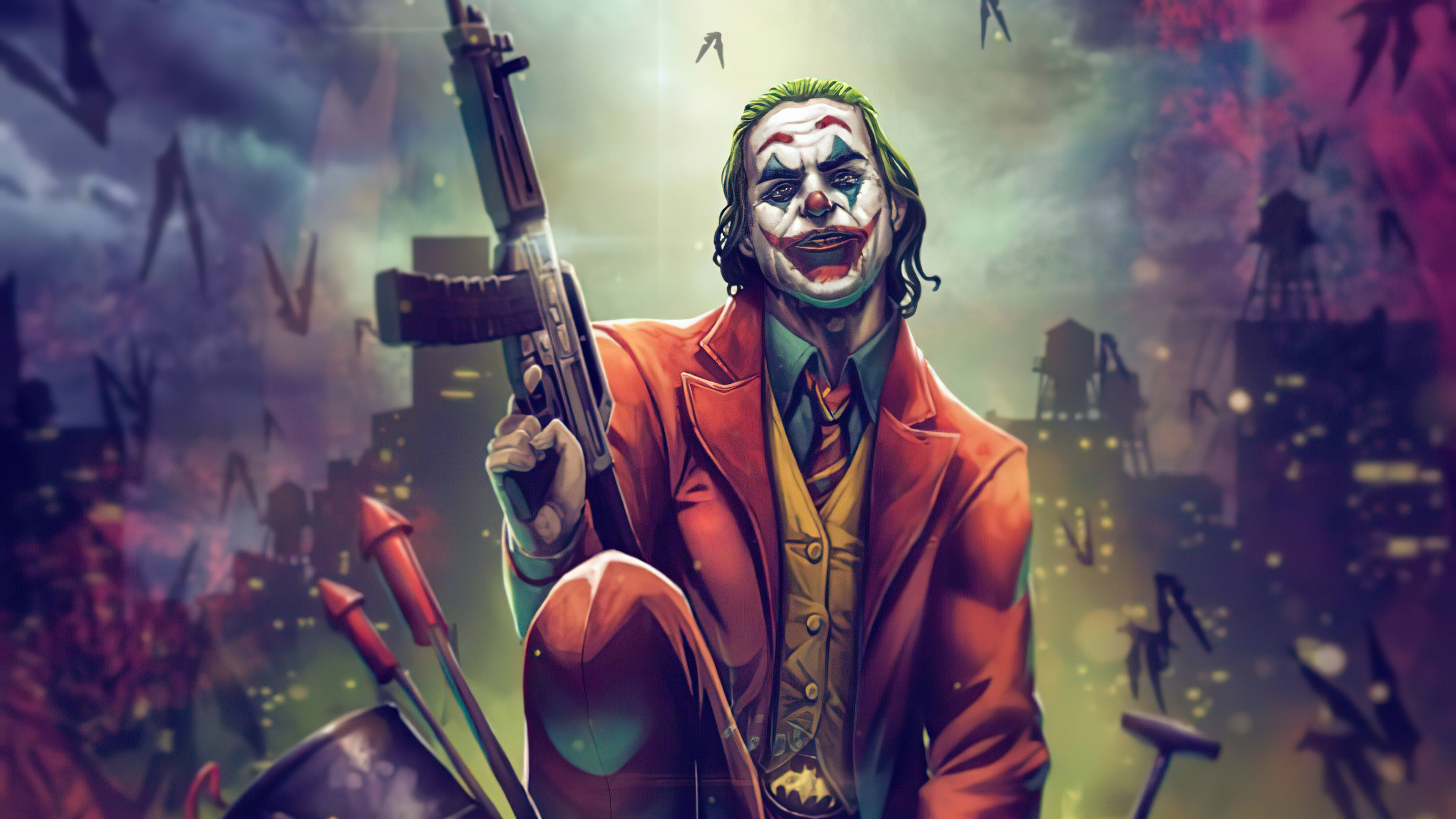 Joker With Gun Up 4k Wallpaper Title Joker With Joker Wallpaper With Gun 3840x2160 Download Hd Wallpaper Wallpapertip