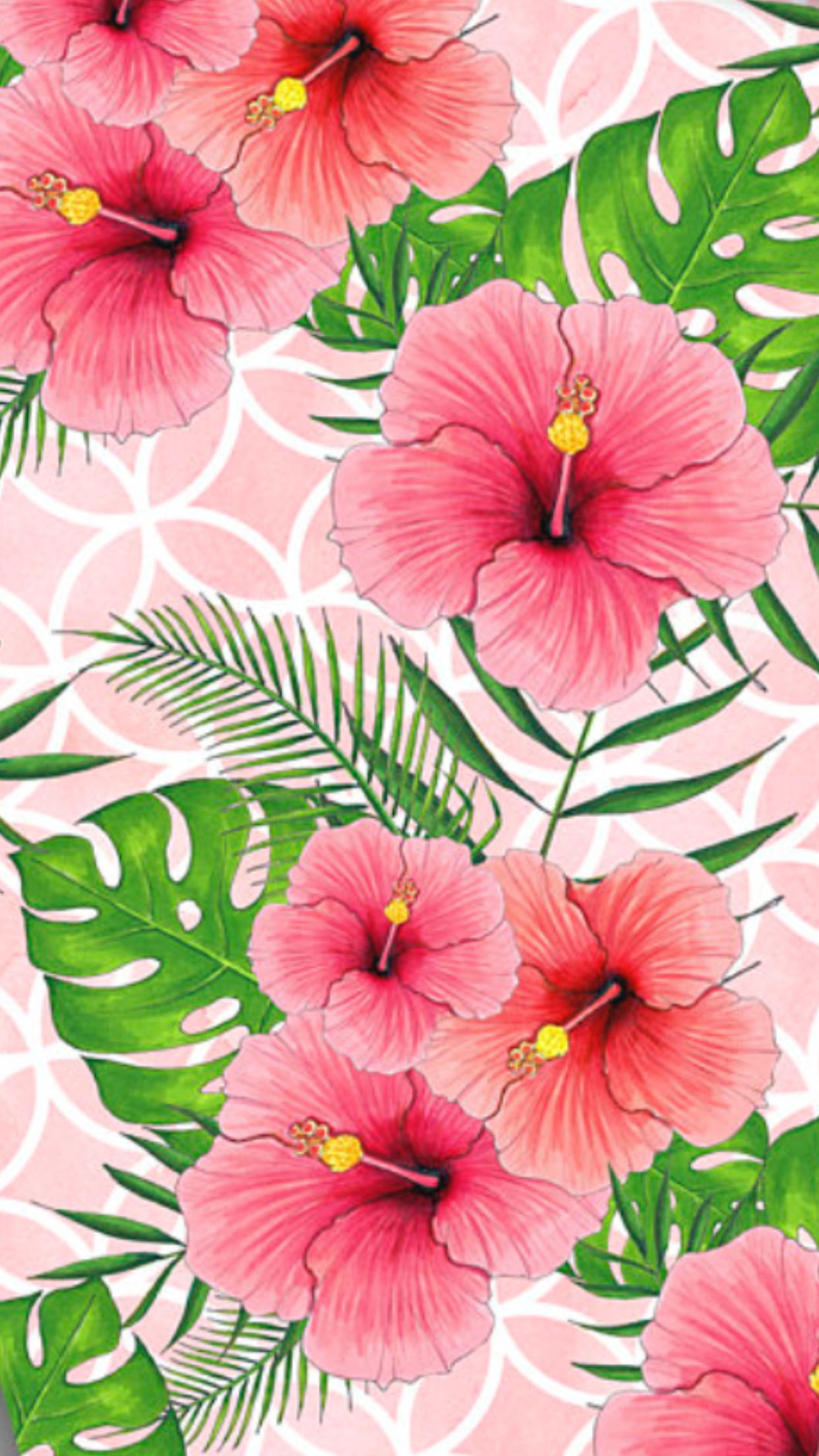 iPhone Wallpaper Hawaii Blumen rosa ...