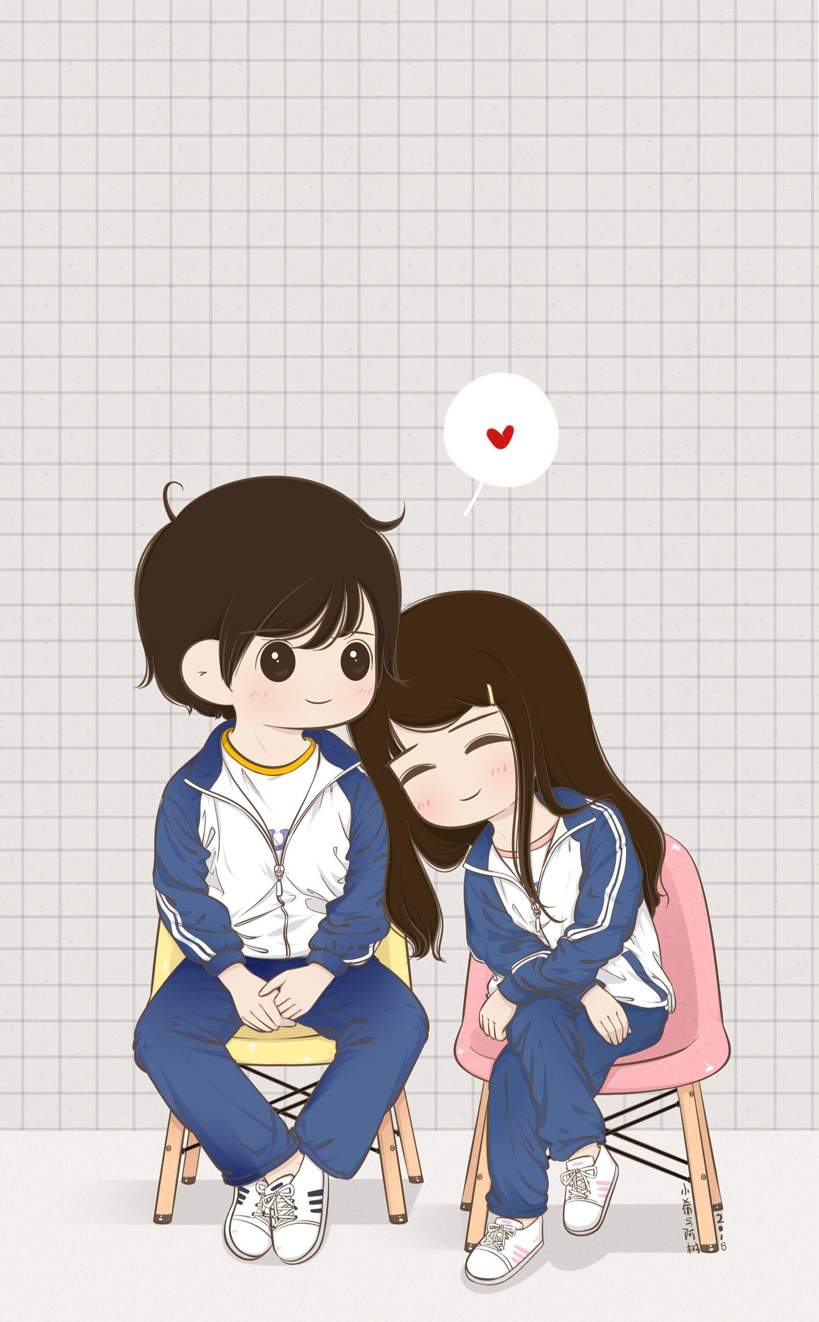 Cute Cartoon Couple 1600x2582 Download Hd Wallpaper Wallpapertip