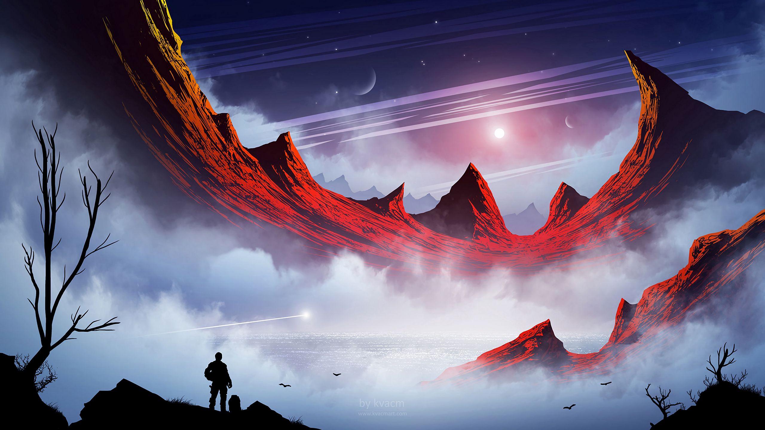 Wallpaper Silhouette Mountains Fog Lake Travel Sci Fi Pixel Art Landscape 2560x1440 Download Hd Wallpaper Wallpapertip