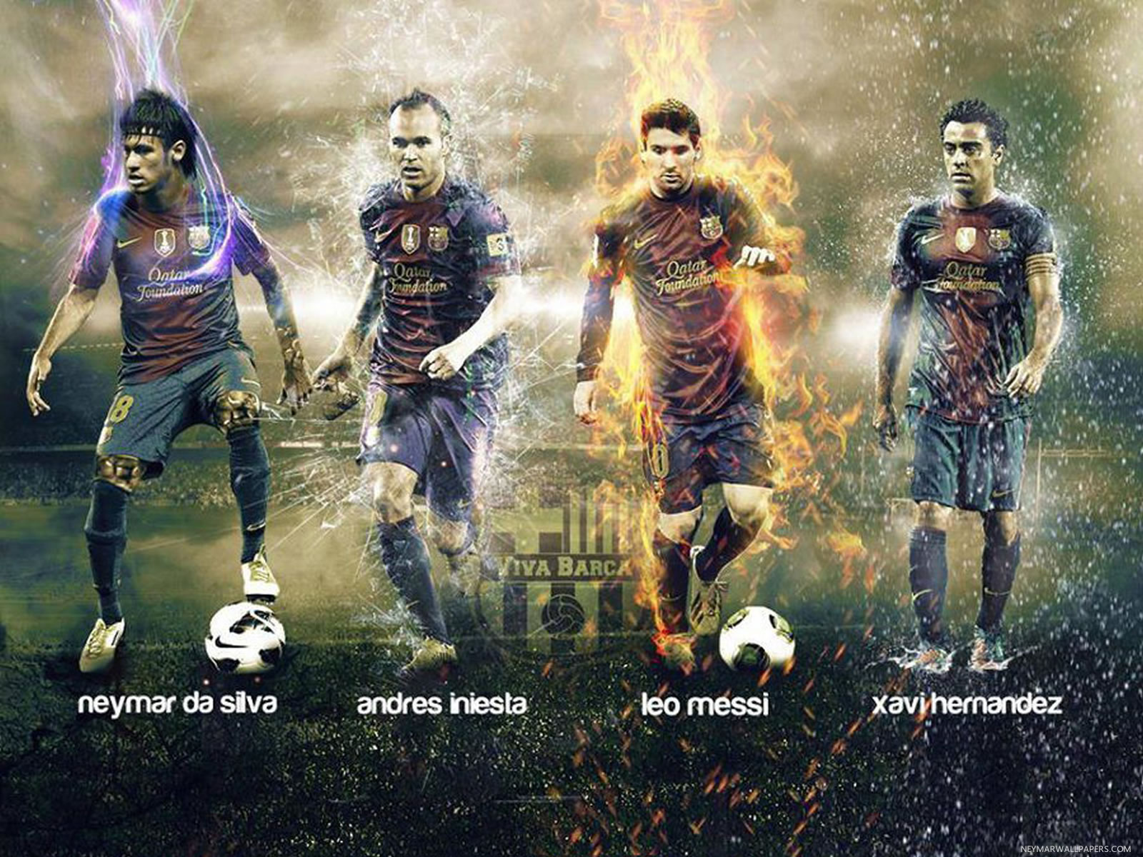 Neymar Iniesta Messi And Hernandez Wallpaper Neymar Messi Xavi Iniesta Hd 1600x1200 Download Hd Wallpaper Wallpapertip