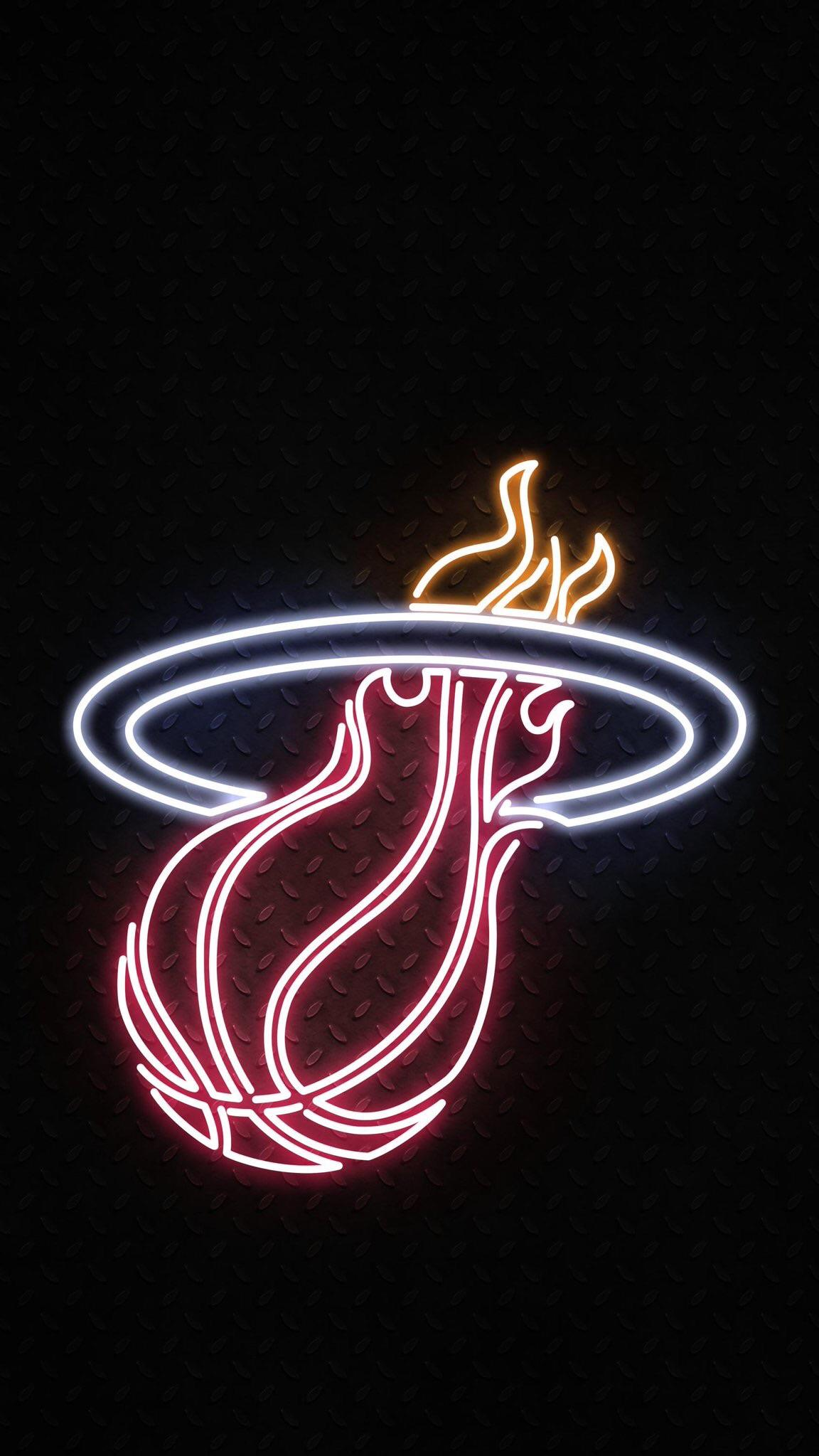 Miami Heat Neon Iphone 1152x2047 Download Hd Wallpaper Wallpapertip