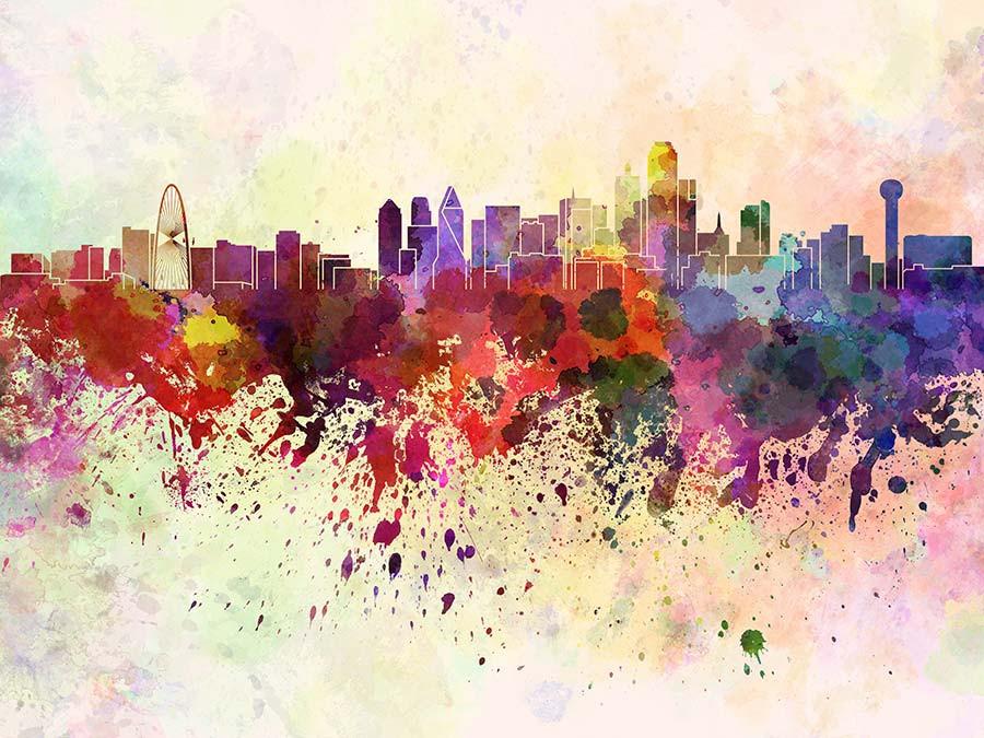 158 1587702 dallas skyline in watercolor mural wallpaper dallas skyline