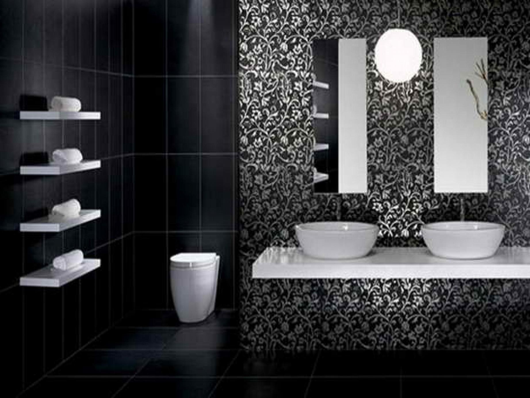 Black And White Wallpaper For Bathrooms Photo Modern Black Bathroom Designs 1843x1382 Download Hd Wallpaper Wallpapertip