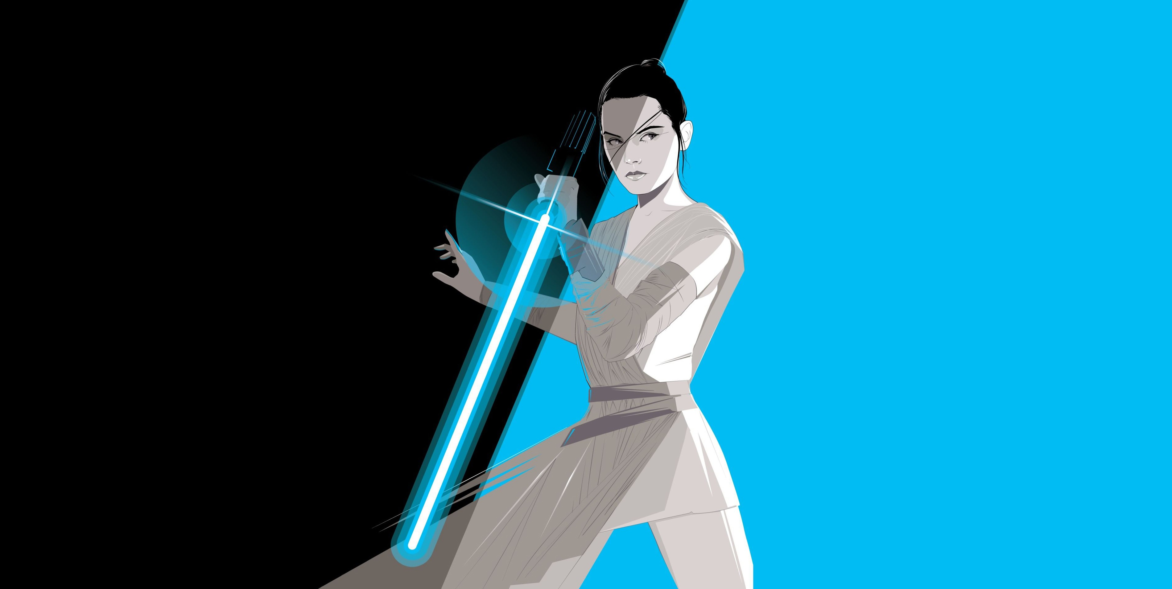 Rey Star Wars Wallpaper Minimalist 3800x1910 Download Hd Wallpaper Wallpapertip