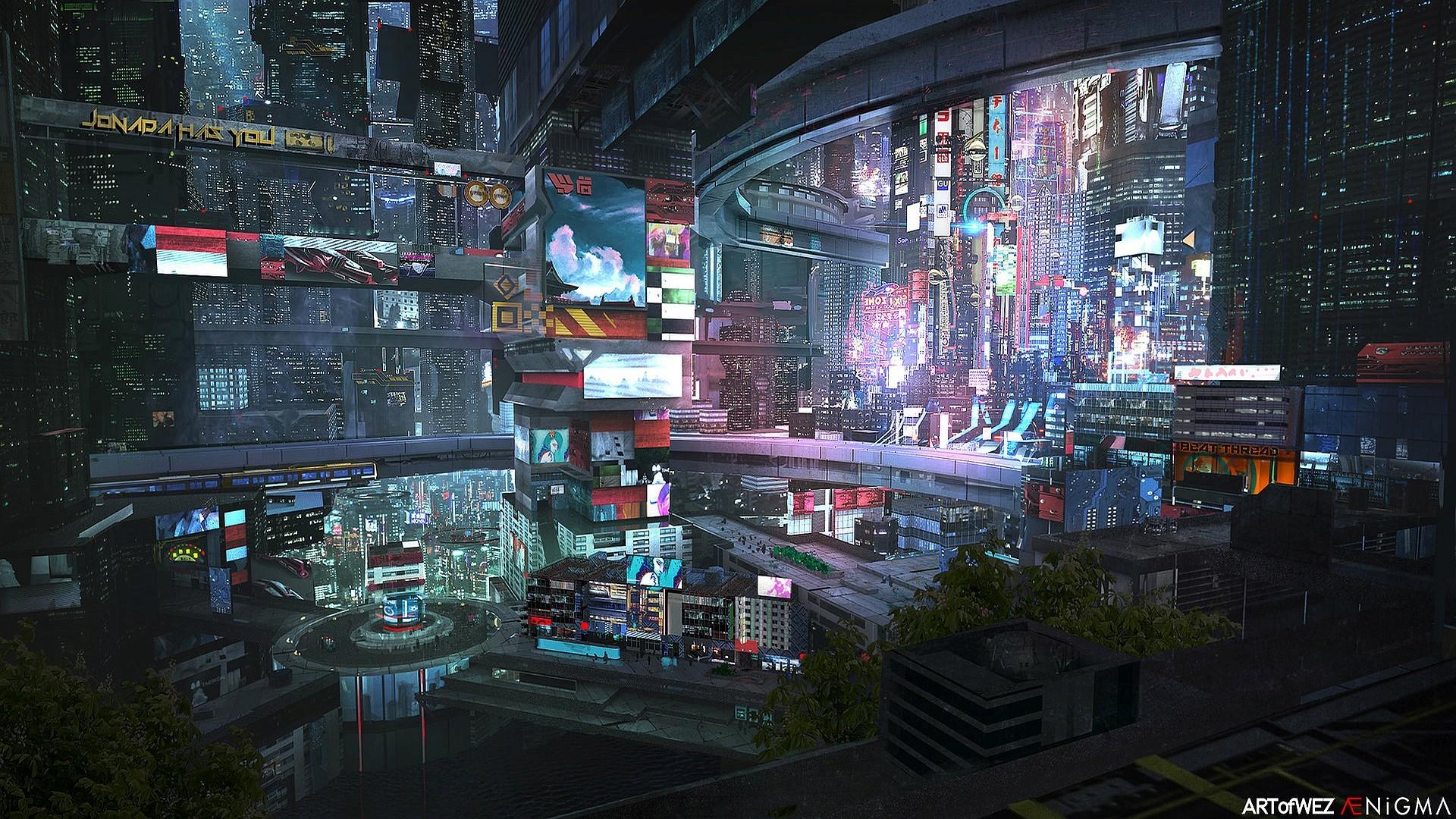 サイバーパンク未来都市 インフォマティック壁紙 768x432 Wallpapertip