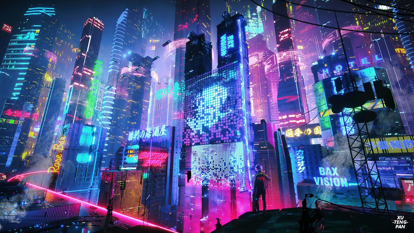 neon city wallpaper