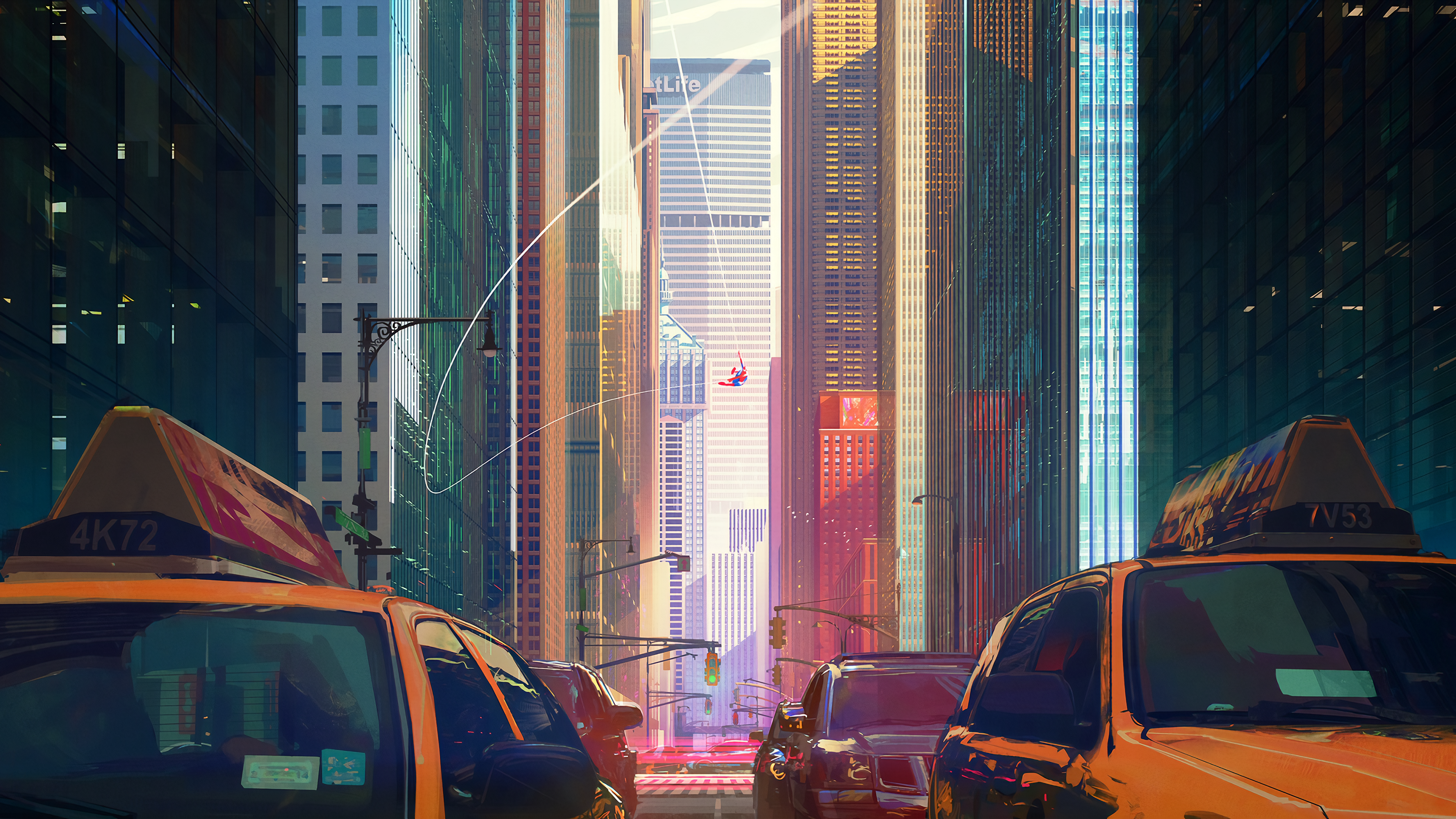 Spider Man Into The Spider Verse Wallpaper City 4k 3840x2160 Download Hd Wallpaper Wallpapertip