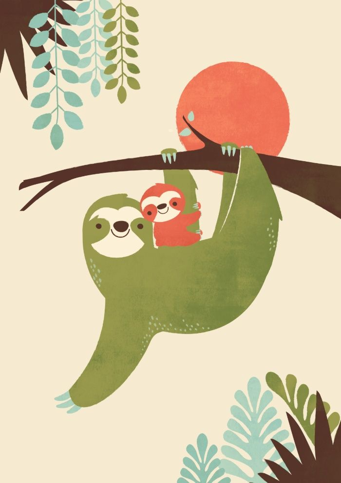 Baby Ilustration Sloth Baby Sloth Slothlife Mama Cute Sloth Wallpaper Iphone 700x992 Download Hd Wallpaper Wallpapertip