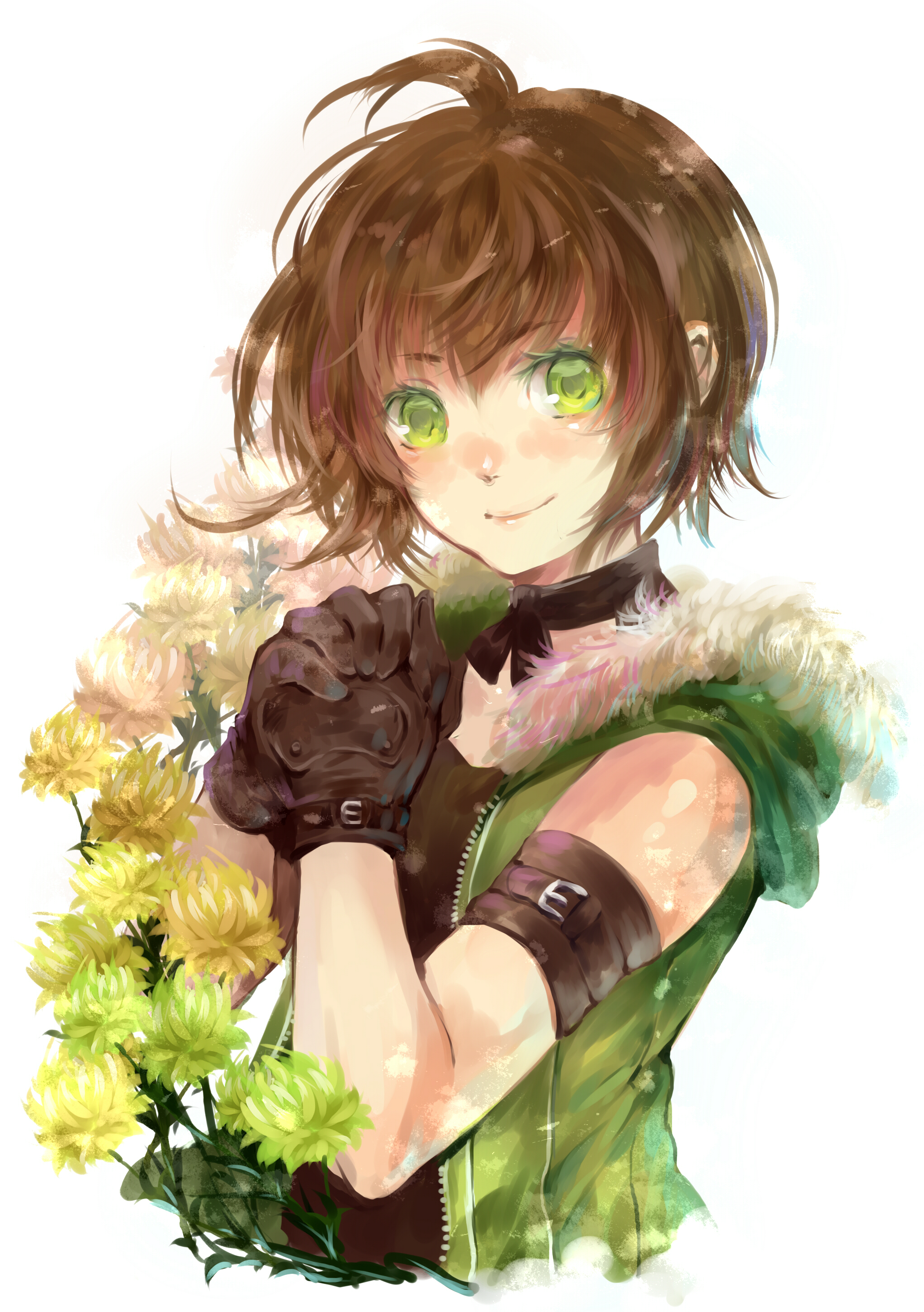 Tomboy Cute Anime Girl Short Brown Hair 2039x2893 Download Hd Wallpaper Wallpapertip