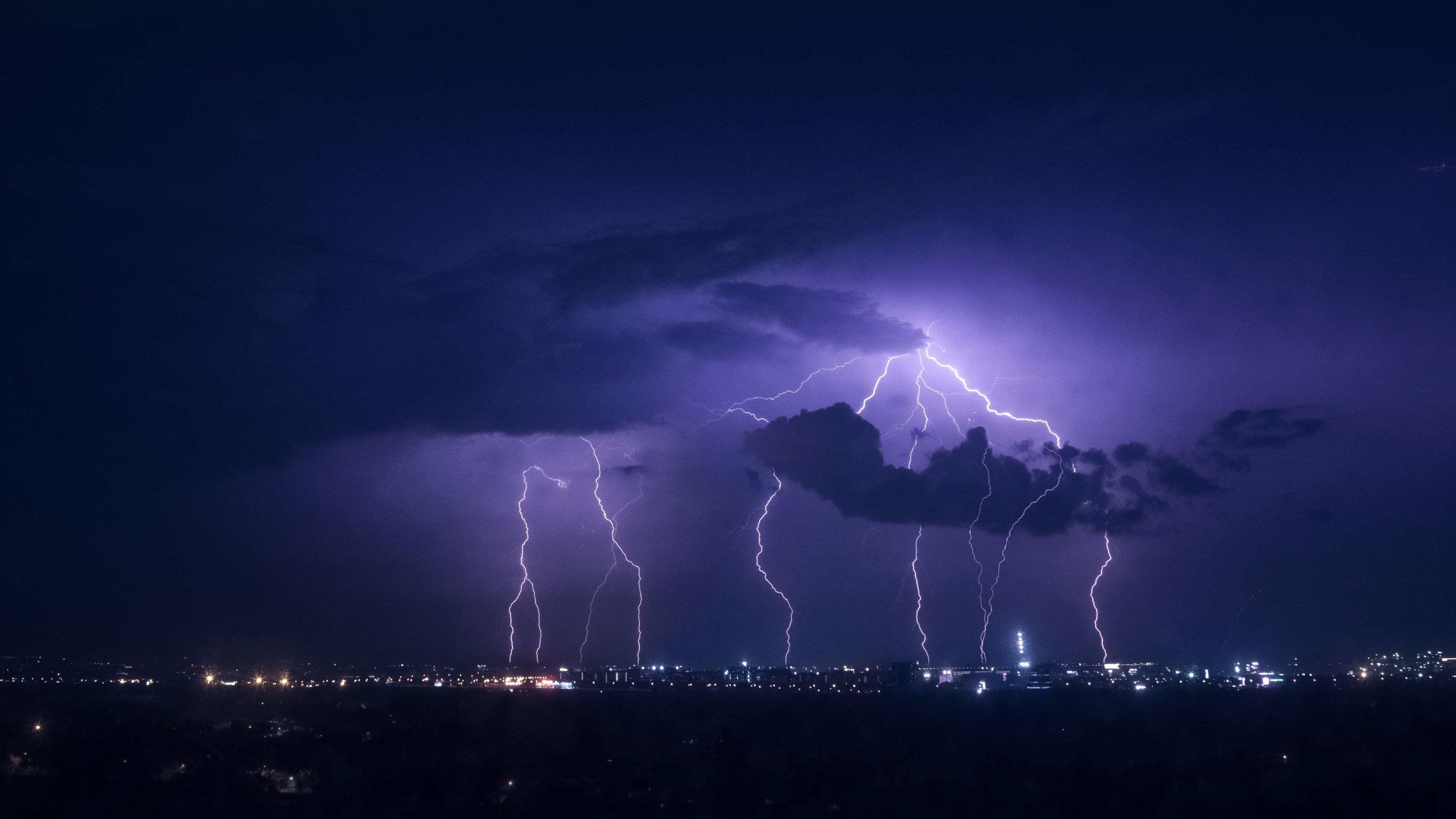 Sky Hd 4k Wallpaper - Lightning At ...