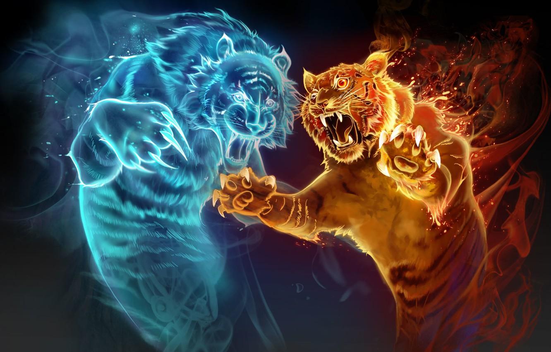 Photo Wallpaper Water, Tiger, Fire ...