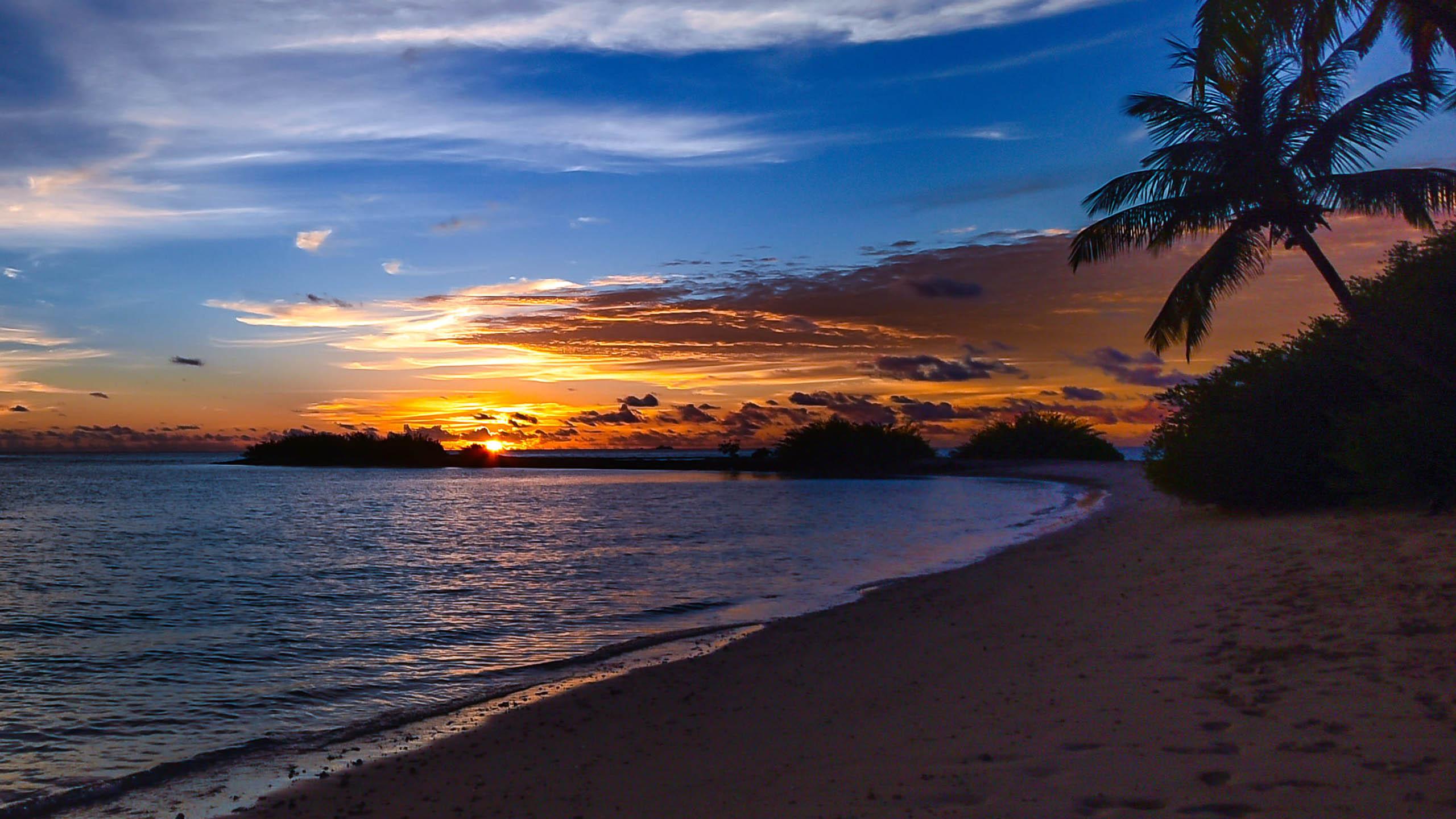 Sunset On Beach Wallpaper 4k 2560x1440 Download Hd Wallpaper Wallpapertip
