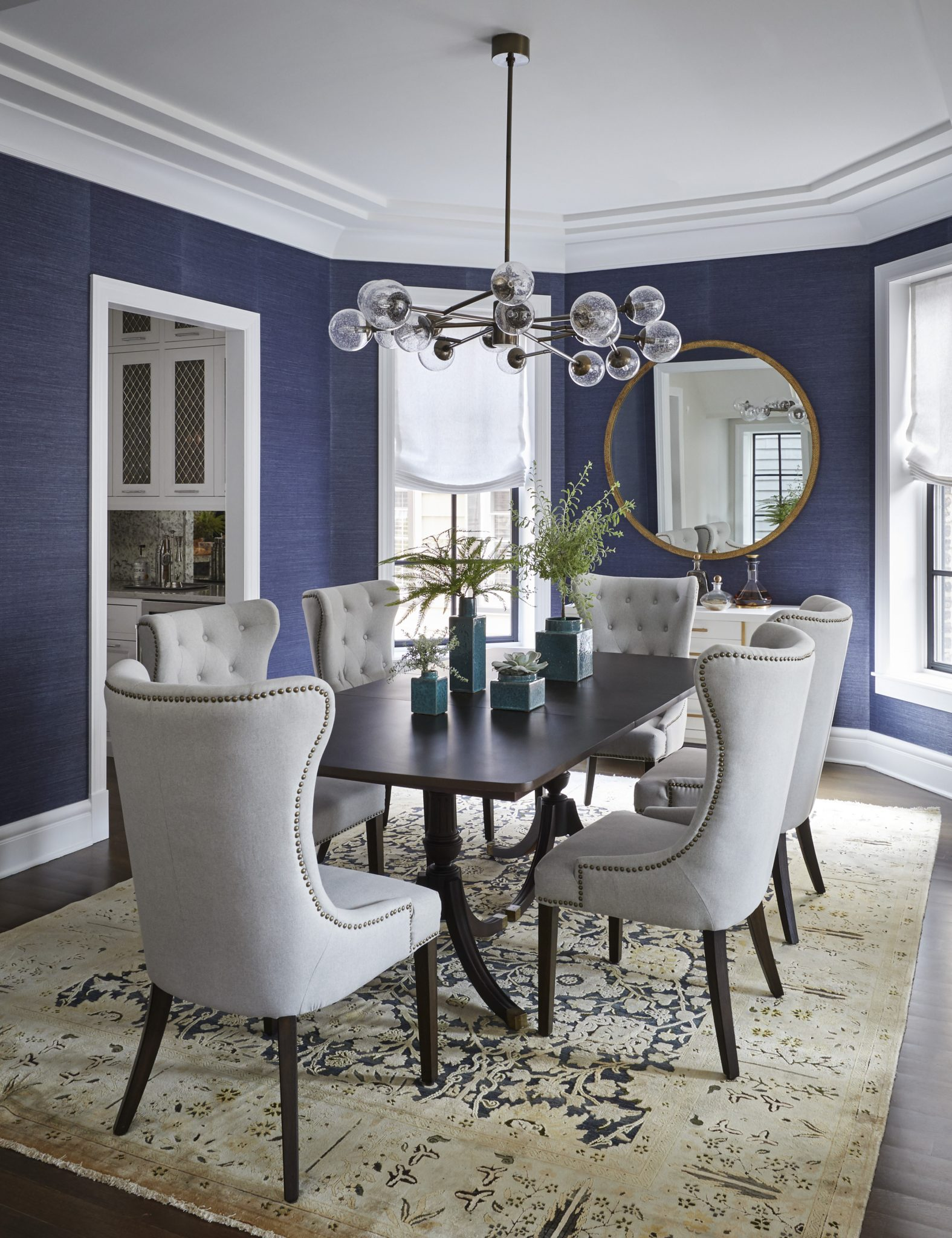 North Center Dining Room With Grass, Navy Grasscloth Wallpaper Dining Room