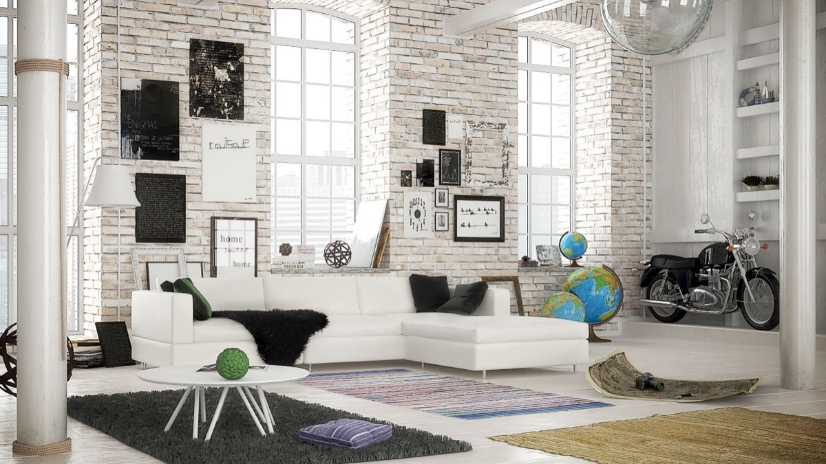 Living Room Industrial White Brick Wall 1200x675 Download Hd Wallpaper Wallpapertip