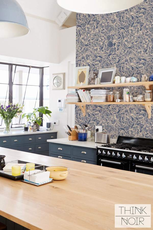 Kitchen Interior With Wallpaper Backsplash Accent Wall Floating Shelves Cabinets Vs Shelves In Kitchen 600x901 Download Hd Wallpaper Wallpapertip