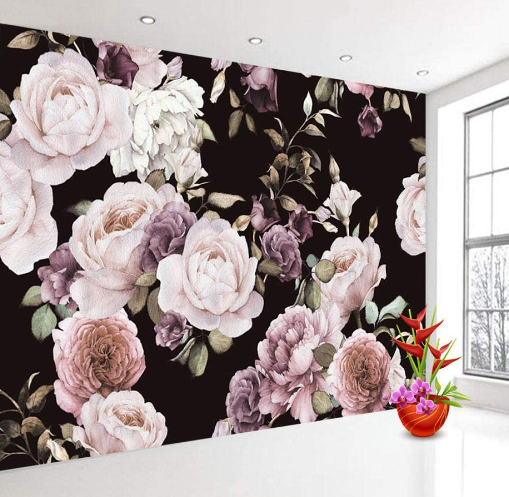 Flowers Mural On Black Wall 1000x977 Download Hd Wallpaper Wallpapertip