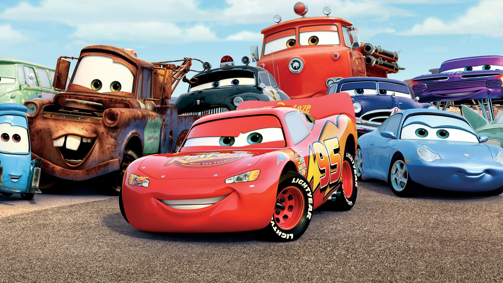 Cars Car Mater Lightning Mcqueen Sally Carrera Flo Cars Movie Wallpaper Hd 1920x1080 Download Hd Wallpaper Wallpapertip