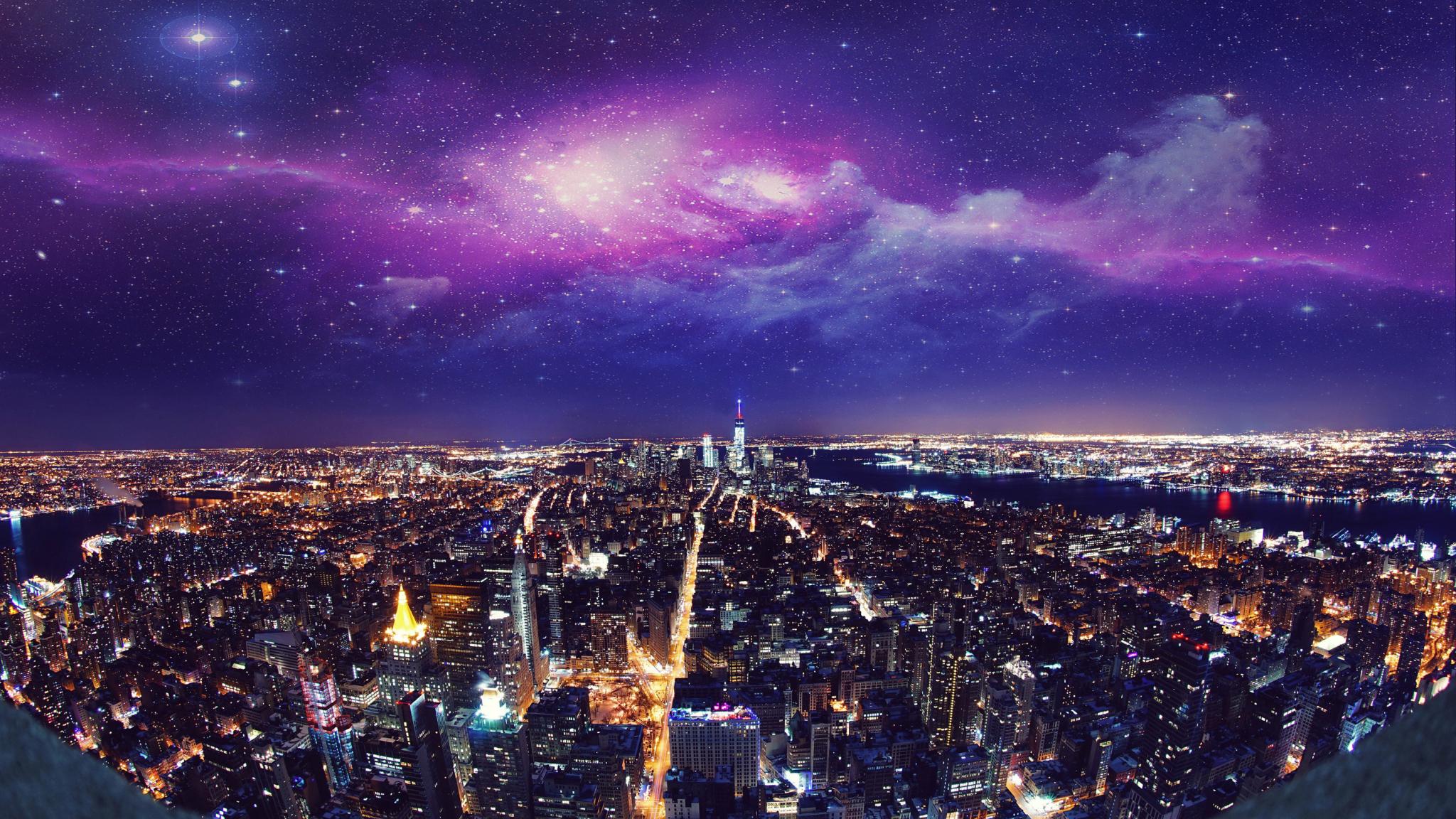 Wallpaper Usa New York City Night 4k 2048x1152 Download Hd Wallpaper Wallpapertip
