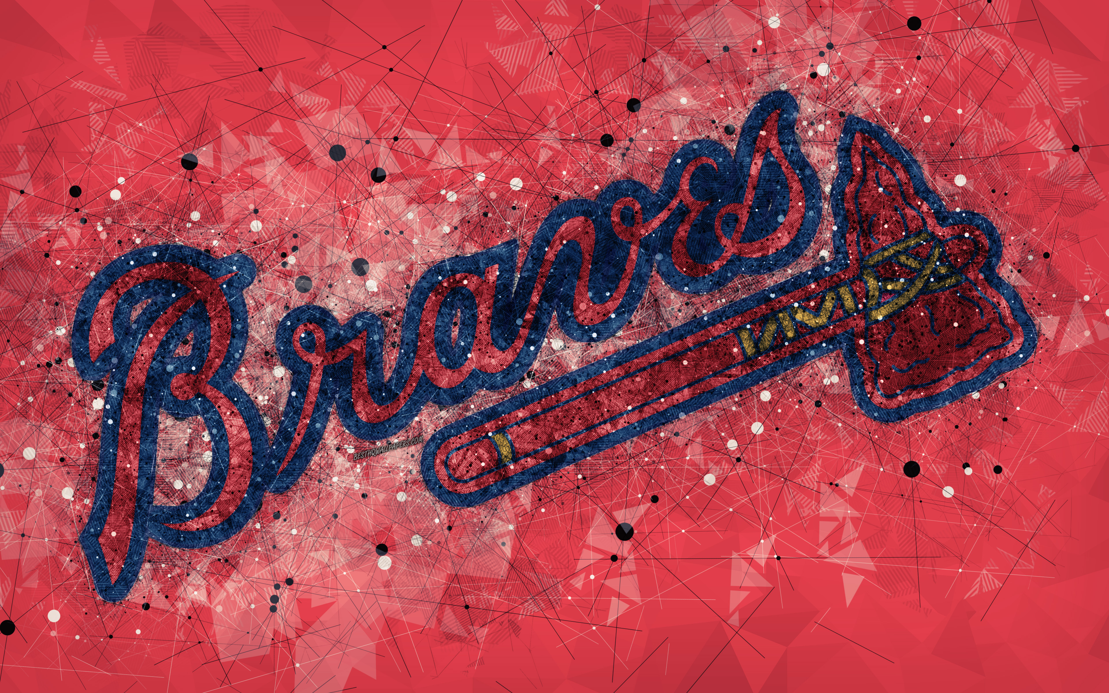 Atlanta Braves 4k American Baseball Club Geometric 3840x2400 Download Hd Wallpaper Wallpapertip