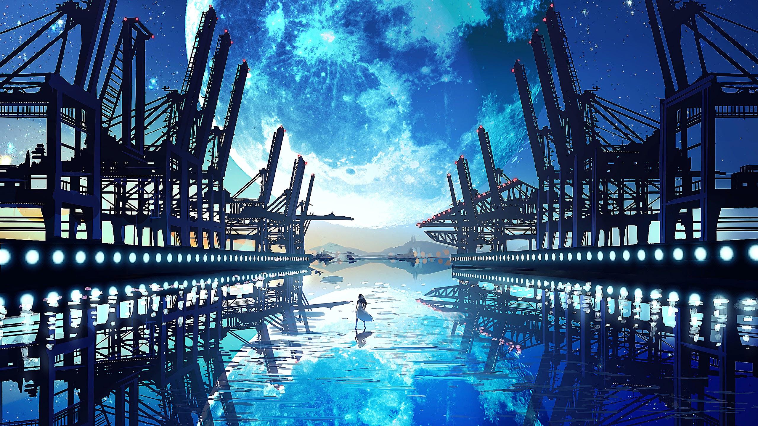 Anime Scenery Landscape Moon 4k 3840x2160 2560x1440 Download Hd Wallpaper Wallpapertip