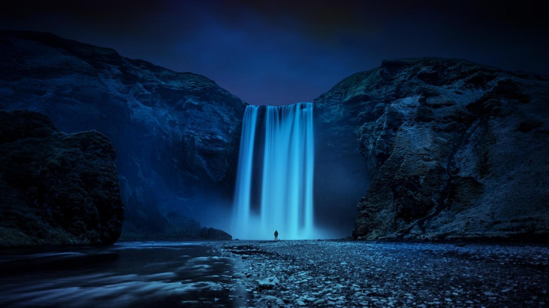 Mountain Nature Night Beautiful Beauty Waterfall Lake 1920x1080 Download Hd Wallpaper Wallpapertip