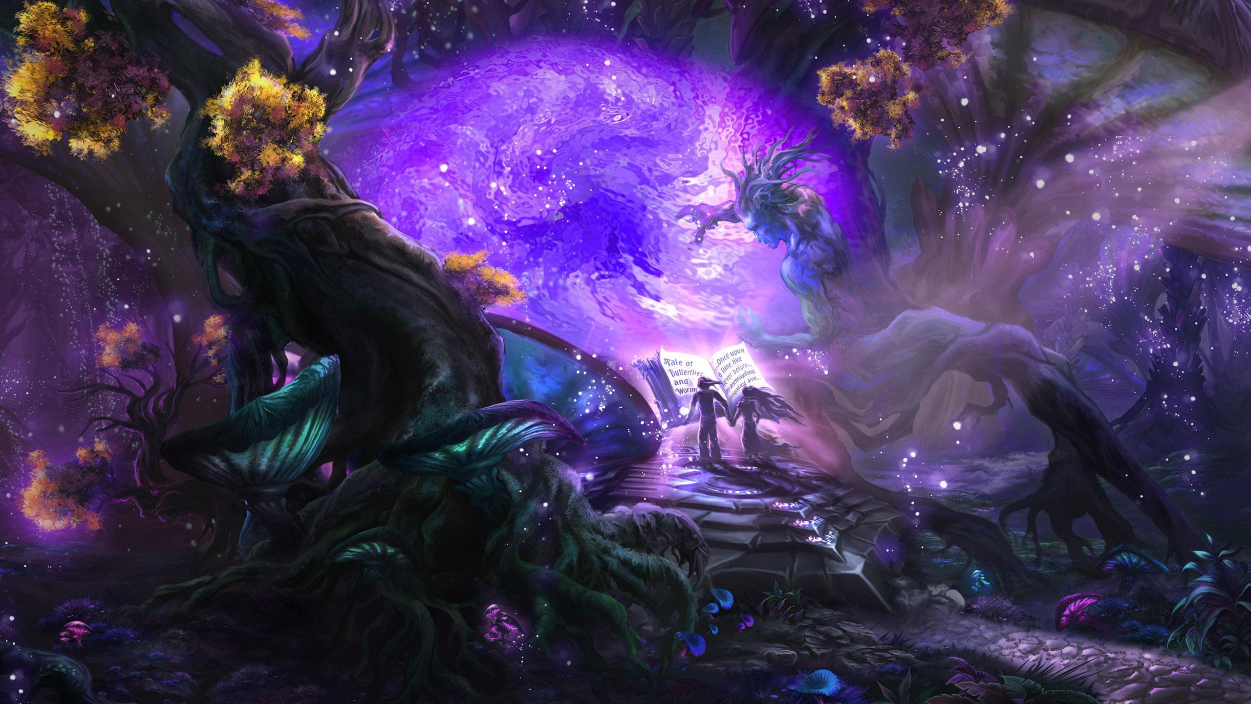 魔法の森の背景紫 3dマジック壁紙ダウンロード 48x1152 Wallpapertip