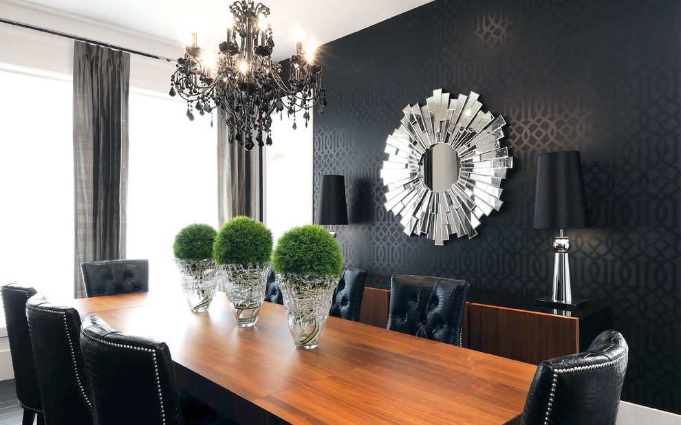 Canada Black And Grey Damask Wallpaper With Contemporary Modern Dining Room Accent Walls 990x618 Download Hd Wallpaper Wallpapertip