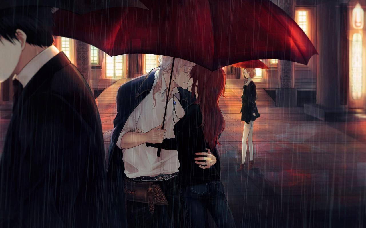 Wallpaper Rain Couple Anime Kiss Umbrella Original 1280x800 Download Hd Wallpaper Wallpapertip