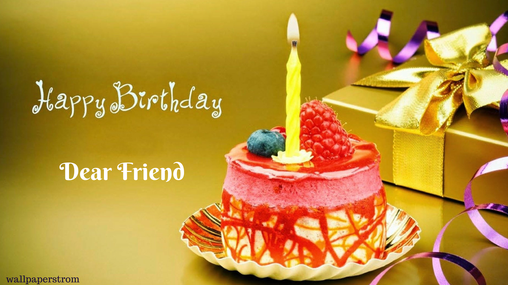 Candle Birthday Cake Happy Birthday Friend Wallpapers 1920x1080 Download Hd Wallpaper Wallpapertip