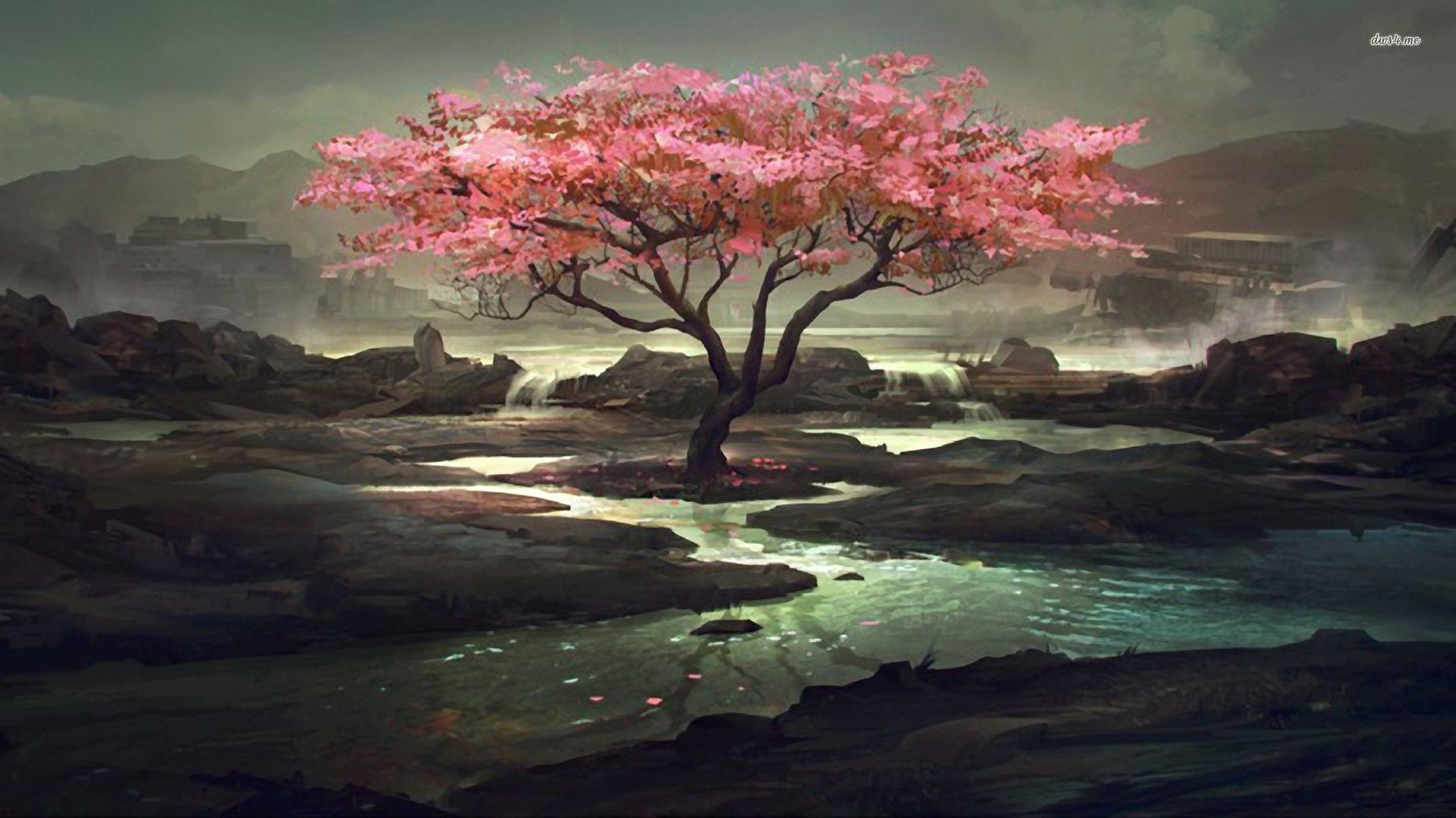 Creekside Cherry Tree Artistic Hd Desktop Wallpaper Zero Two Wallpaper 4k 1920x1080 Download Hd Wallpaper Wallpapertip