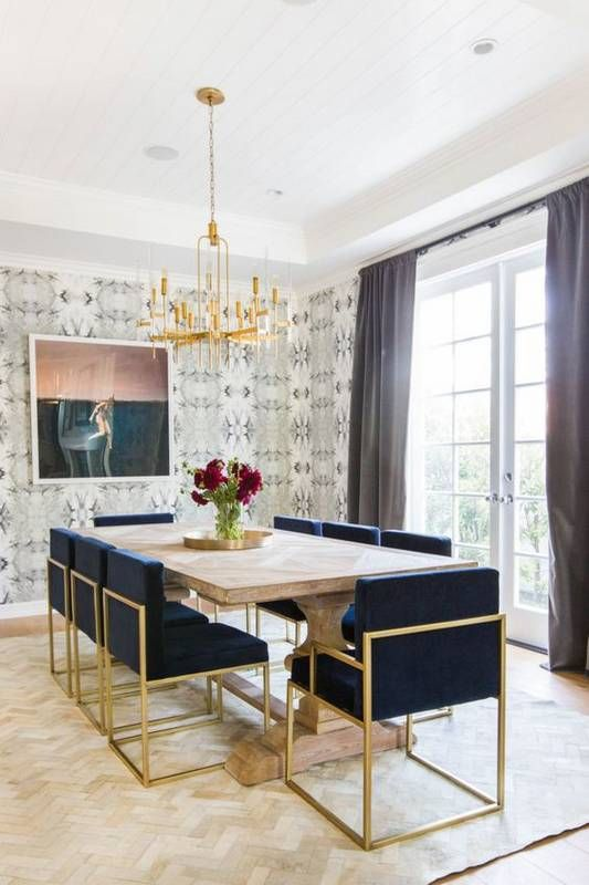 Art Deco Navy And Gold Upholstered Chairs Create A Modern Wallpaper Dining Room 533x800 Download Hd Wallpaper Wallpapertip