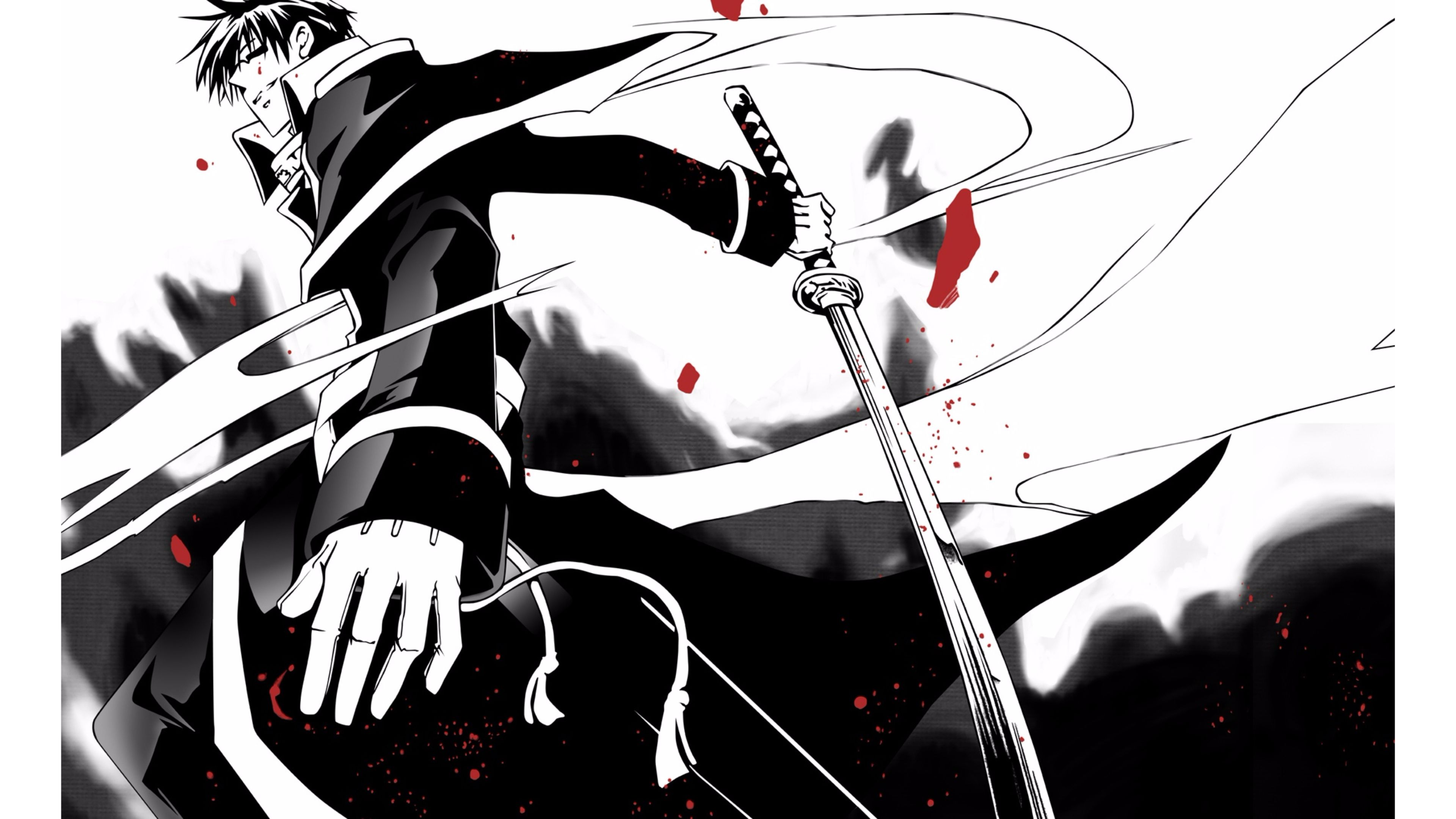 Swordsman Anime Wallpaper Cool Black And White Anime 3840x2160 Download Hd Wallpaper Wallpapertip