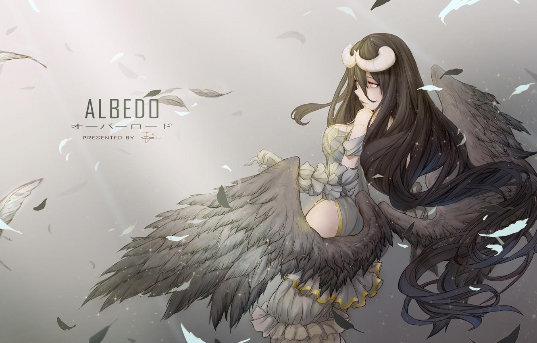 Photo Wallpaper Girl Wings Anime Feathers Art Albedo Overlord Wallpaper 4k 1332x850 Download Hd Wallpaper Wallpapertip