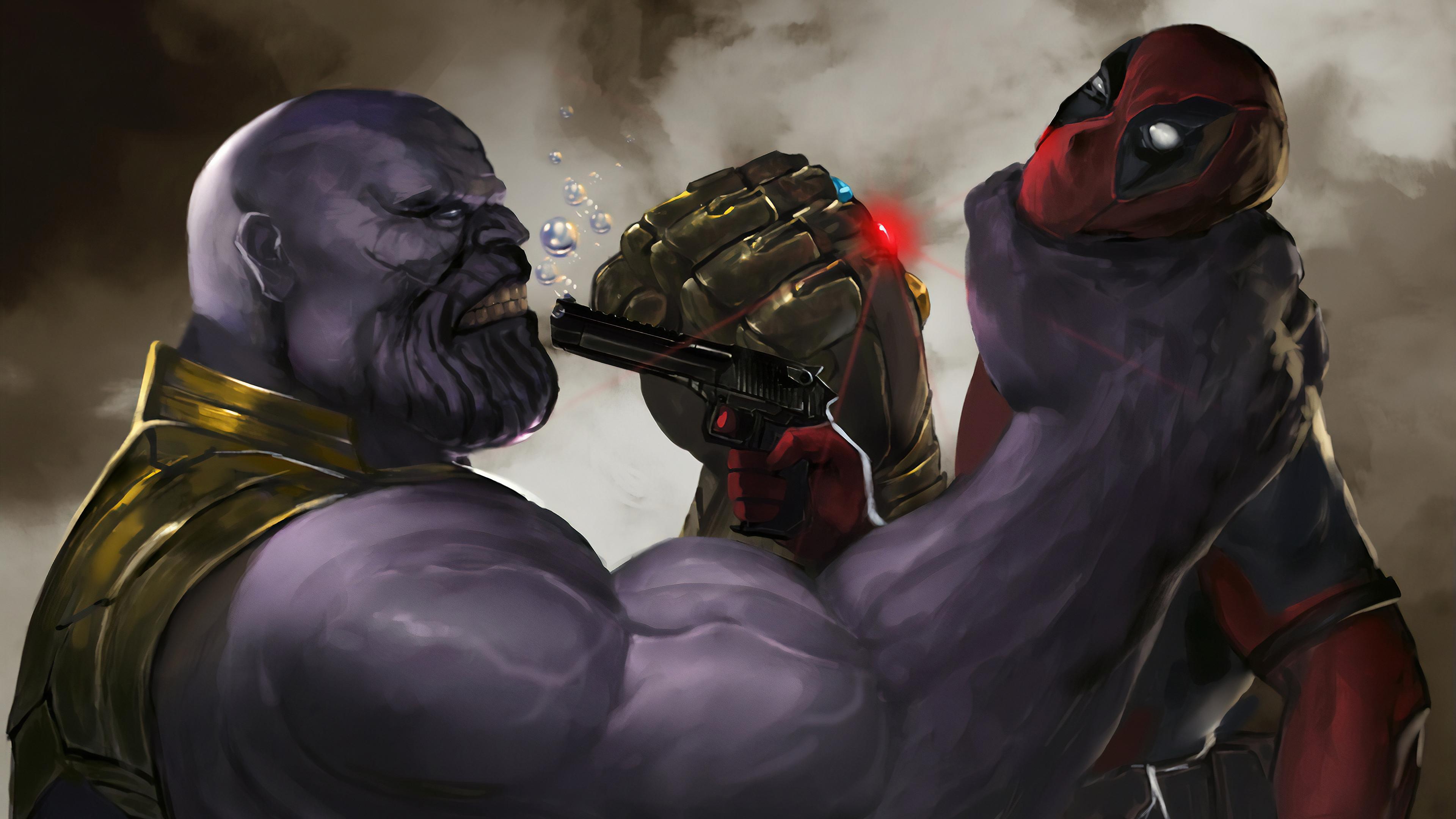 Deadpool 4k Wallpaper Vs Thanos Deadpool Thanos Wallpaper 4k 3840x2160 Download Hd Wallpaper Wallpapertip