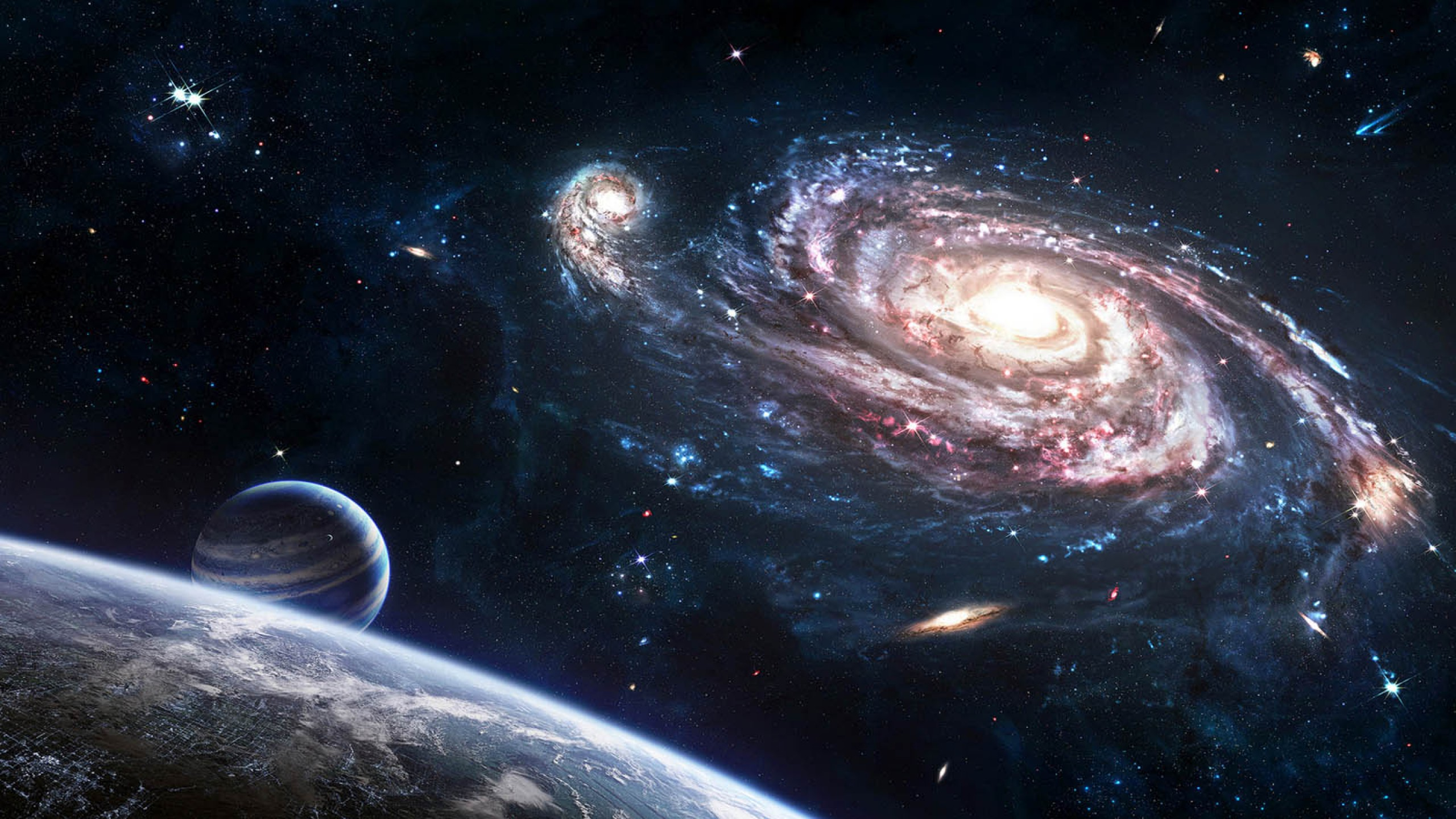 3 34444 galaxy moon in space