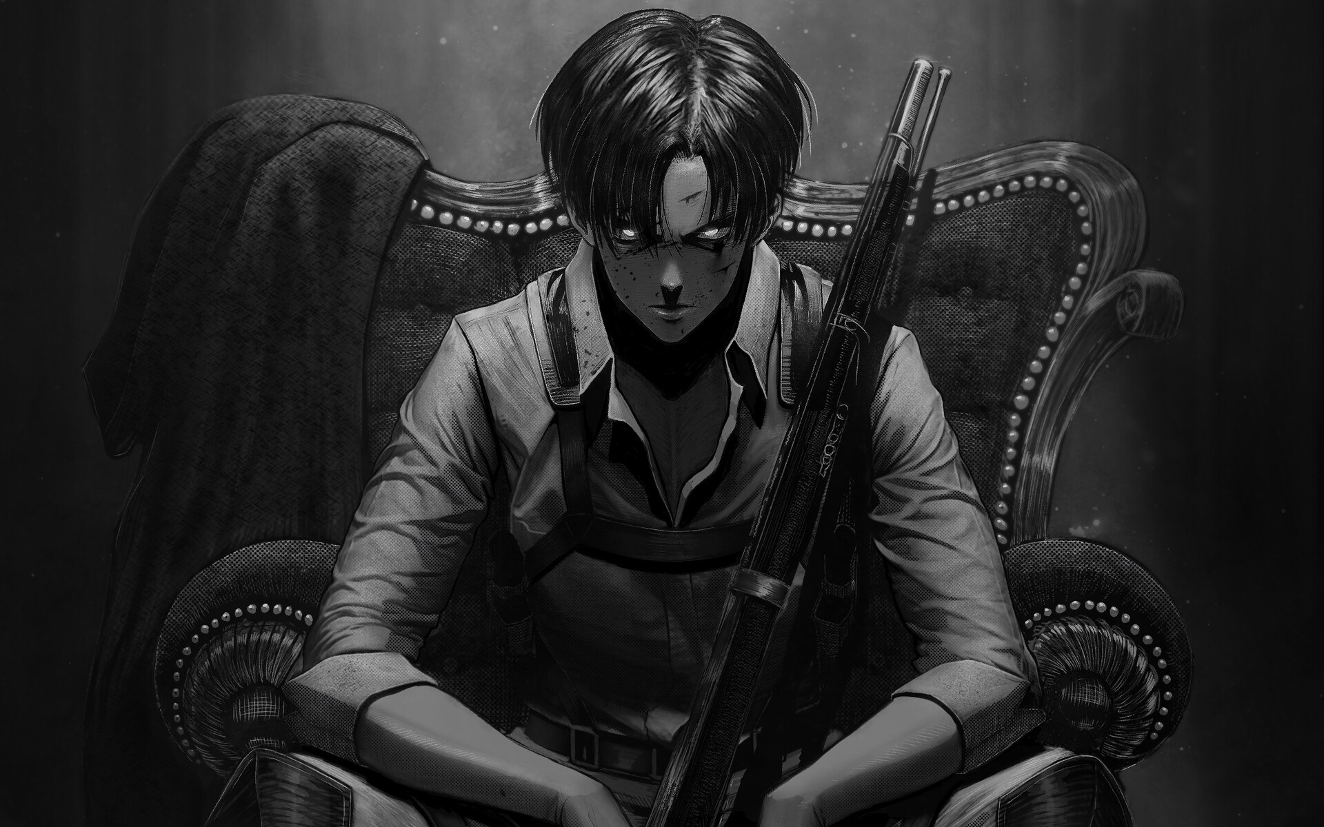Wallpaper Of Anime Levi Ackerman Gun Attack On Titan Levi Ackerman Wallpaper Hd 1920x1200 Download Hd Wallpaper Wallpapertip
