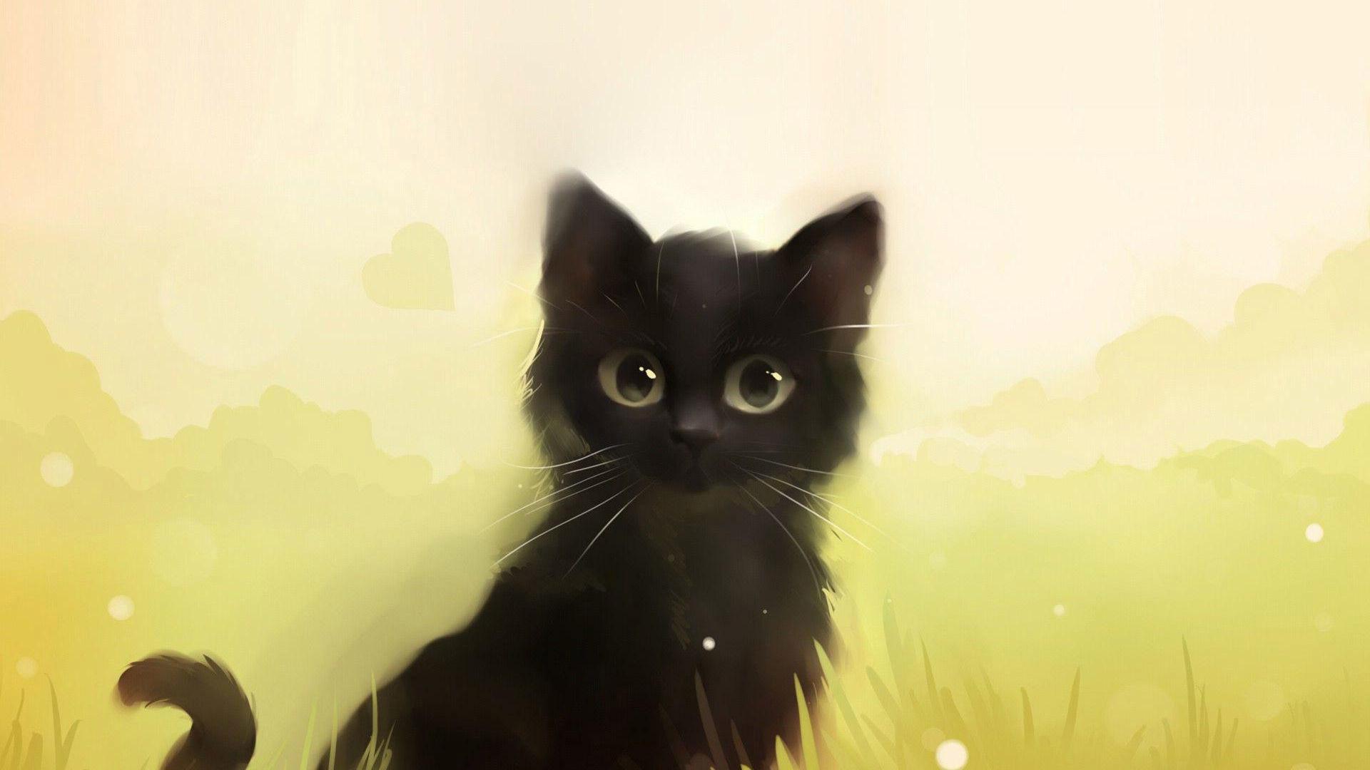 Cute Animated Black Cat Cute Black Cat Animated 1920x1080 Download Hd Wallpaper Wallpapertip
