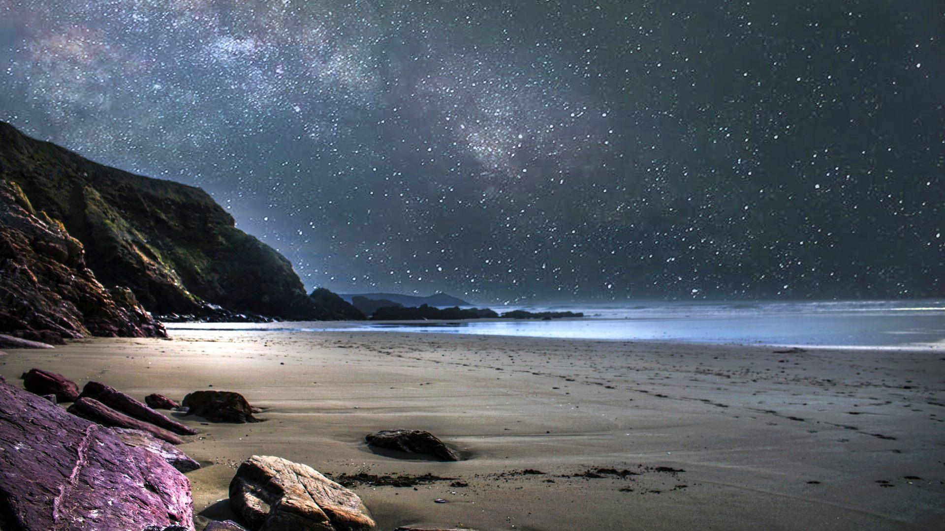 Night Beach 1920x1080 Download Hd Wallpaper Wallpapertip