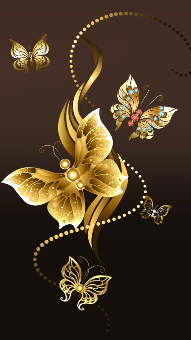Fond Ecran Or Noir Papillon 640x1136 Download Hd Wallpaper Wallpapertip